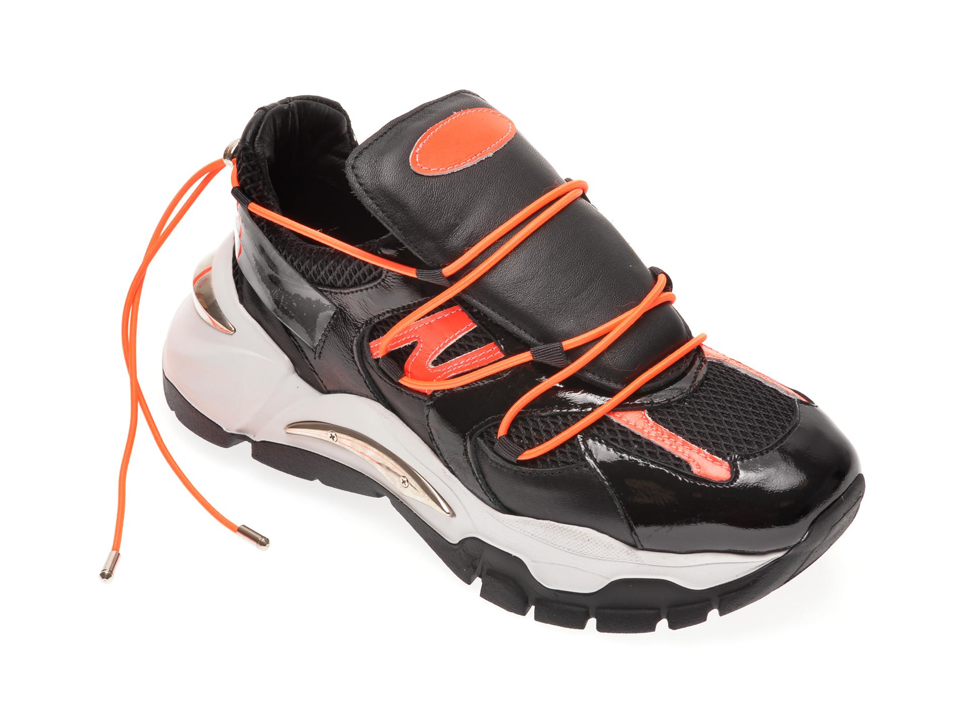 Pantofi sport FLAVIA PASSINI negri, 135P34, din material textil si piele naturala