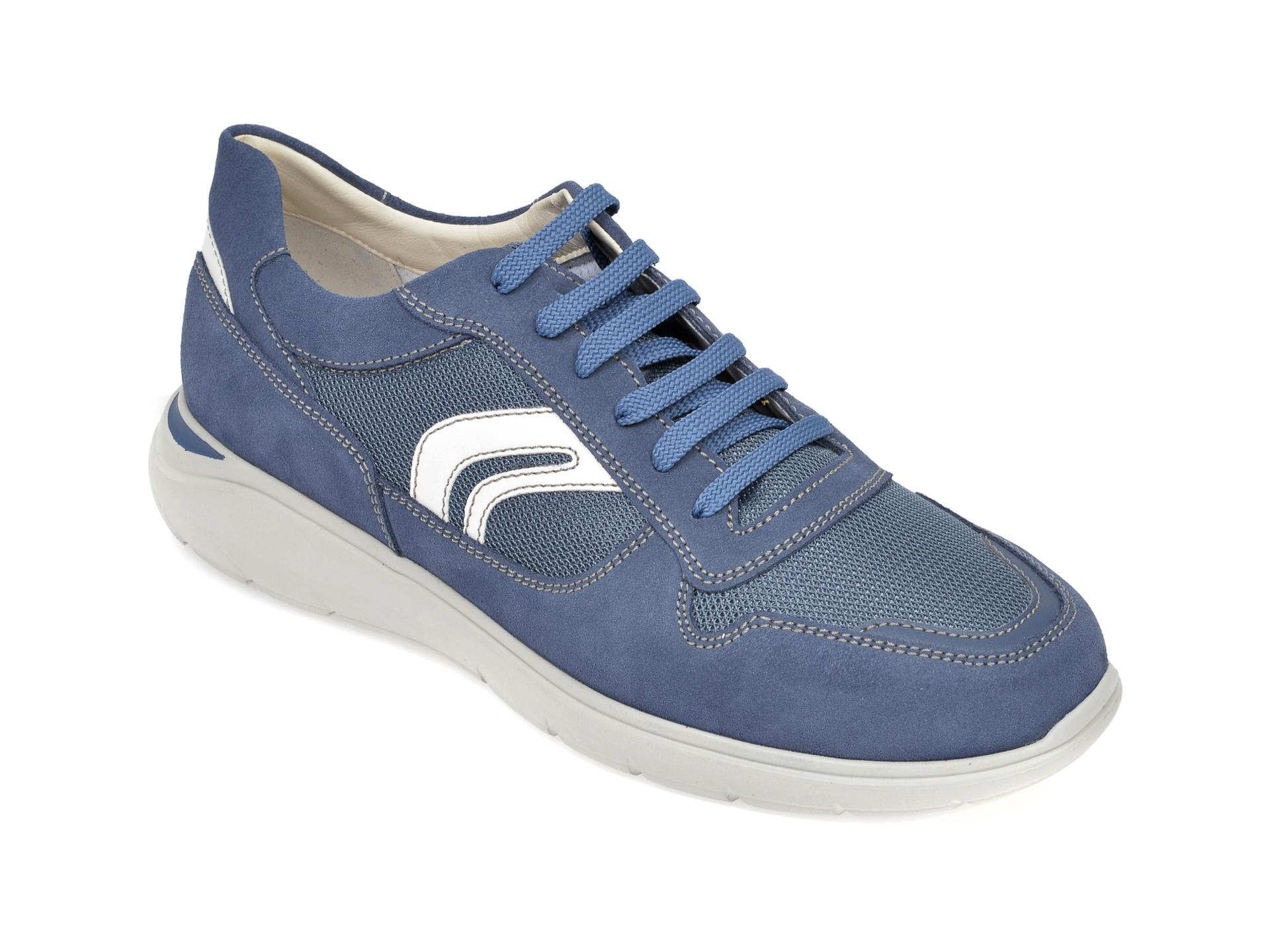 Pantofi sport GEOX albastri, U029DC, din material textil si piele intoarsa