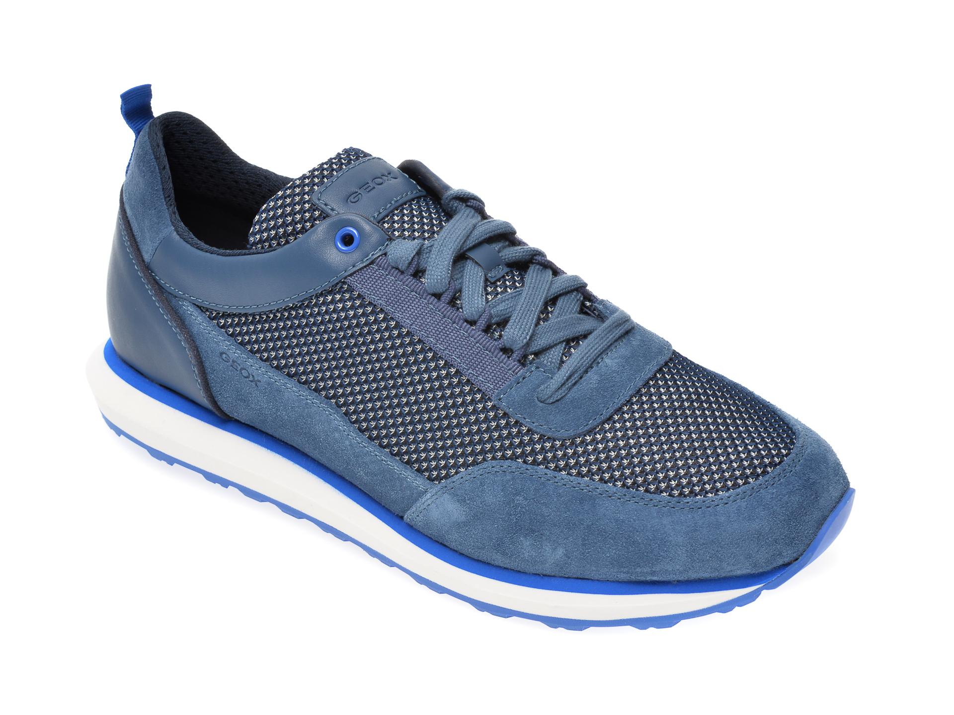 Pantofi sport GEOX albastri, U029WC, din material textil si piele naturala