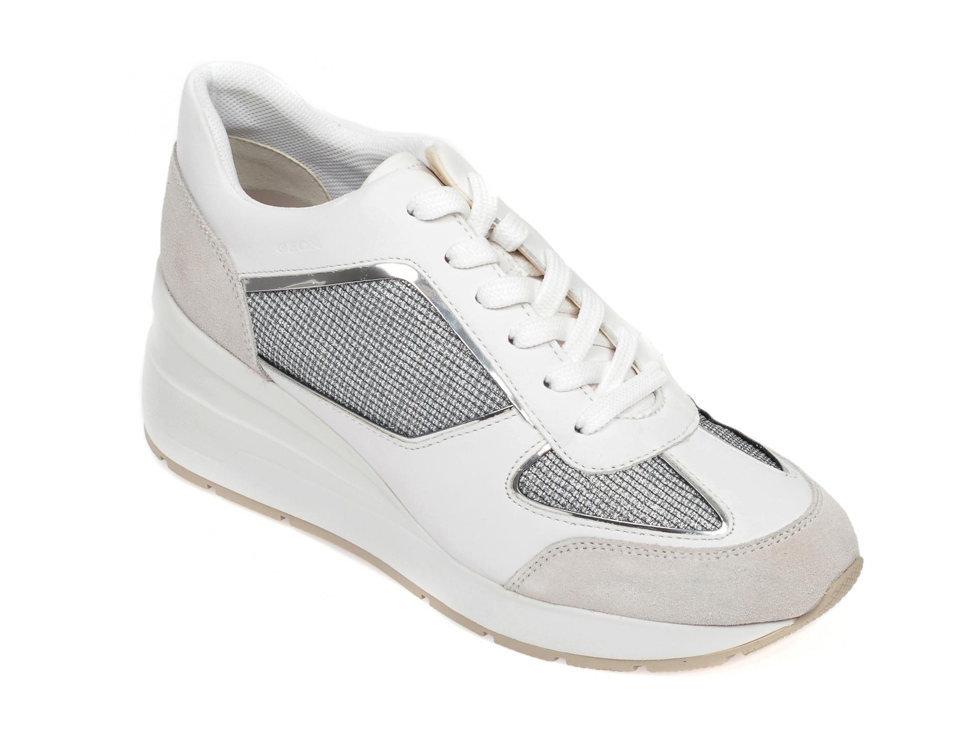 Pantofi sport GEOX albi, D028LA, din material textil si piele intoarsa