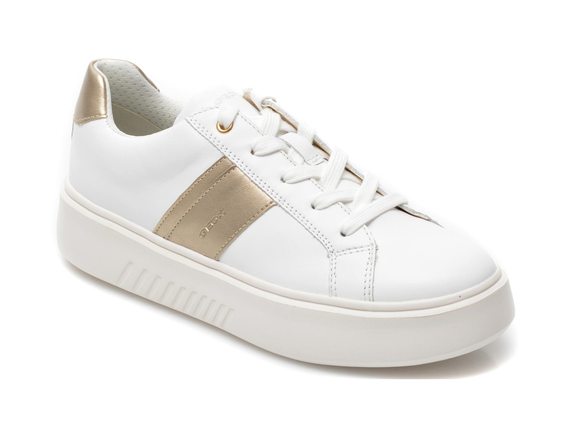 Pantofi sport GEOX albi, J158WE, din piele ecologica