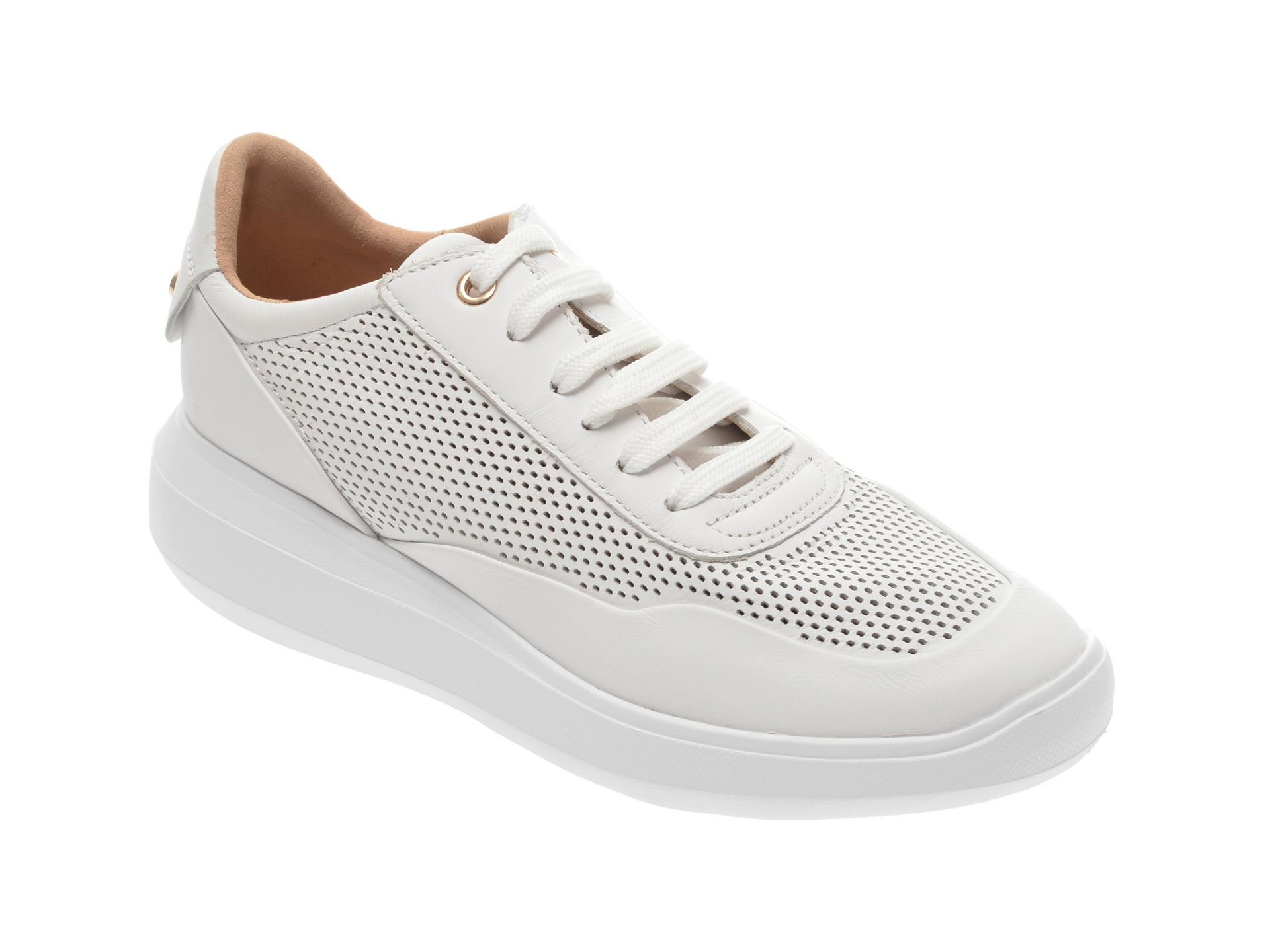 Pantofi sport GEOX albi, D84APA, din piele naturala