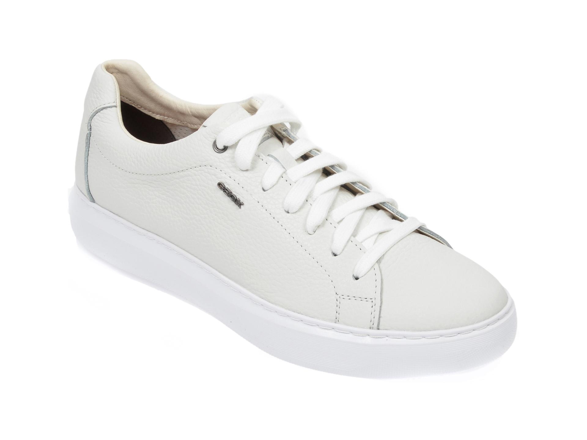 Pantofi sport GEOX albi, U845WB, din piele naturala imagine