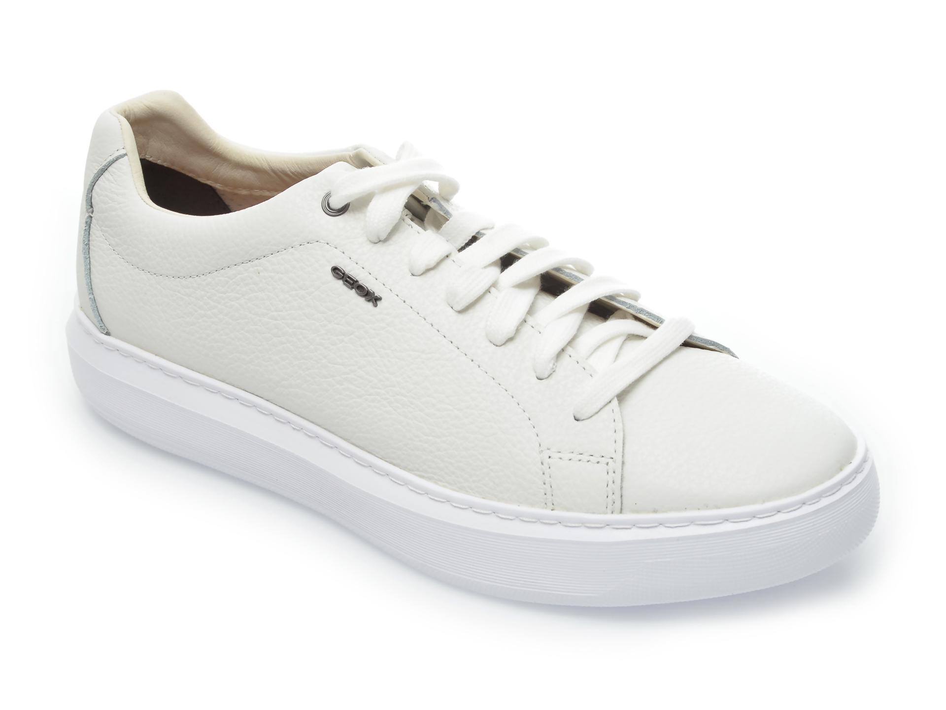 Pantofi sport GEOX albi, U845WB, din piele naturala