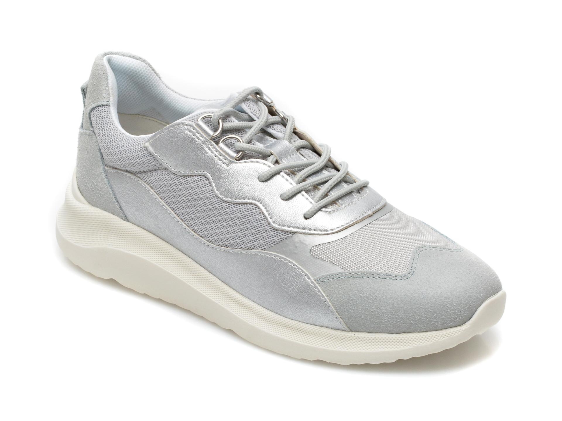Pantofi sport GEOX argintii, D15NXG, din material textil si piele naturala
