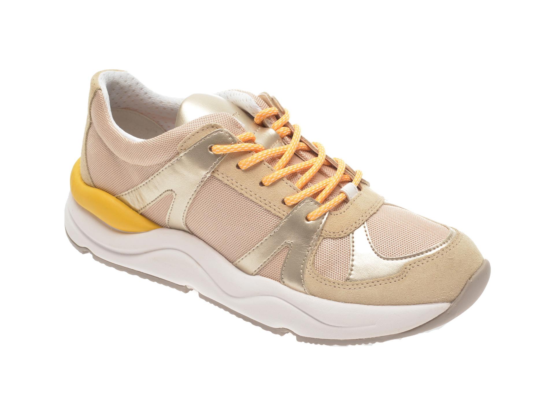 Pantofi sport GEOX bej, D02GDA, din material textil si piele naturala