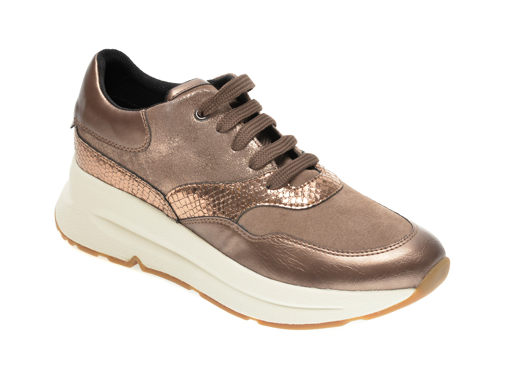 Pantofi sport GEOX aurii, D04BPA, din material textil si piele intoarsa