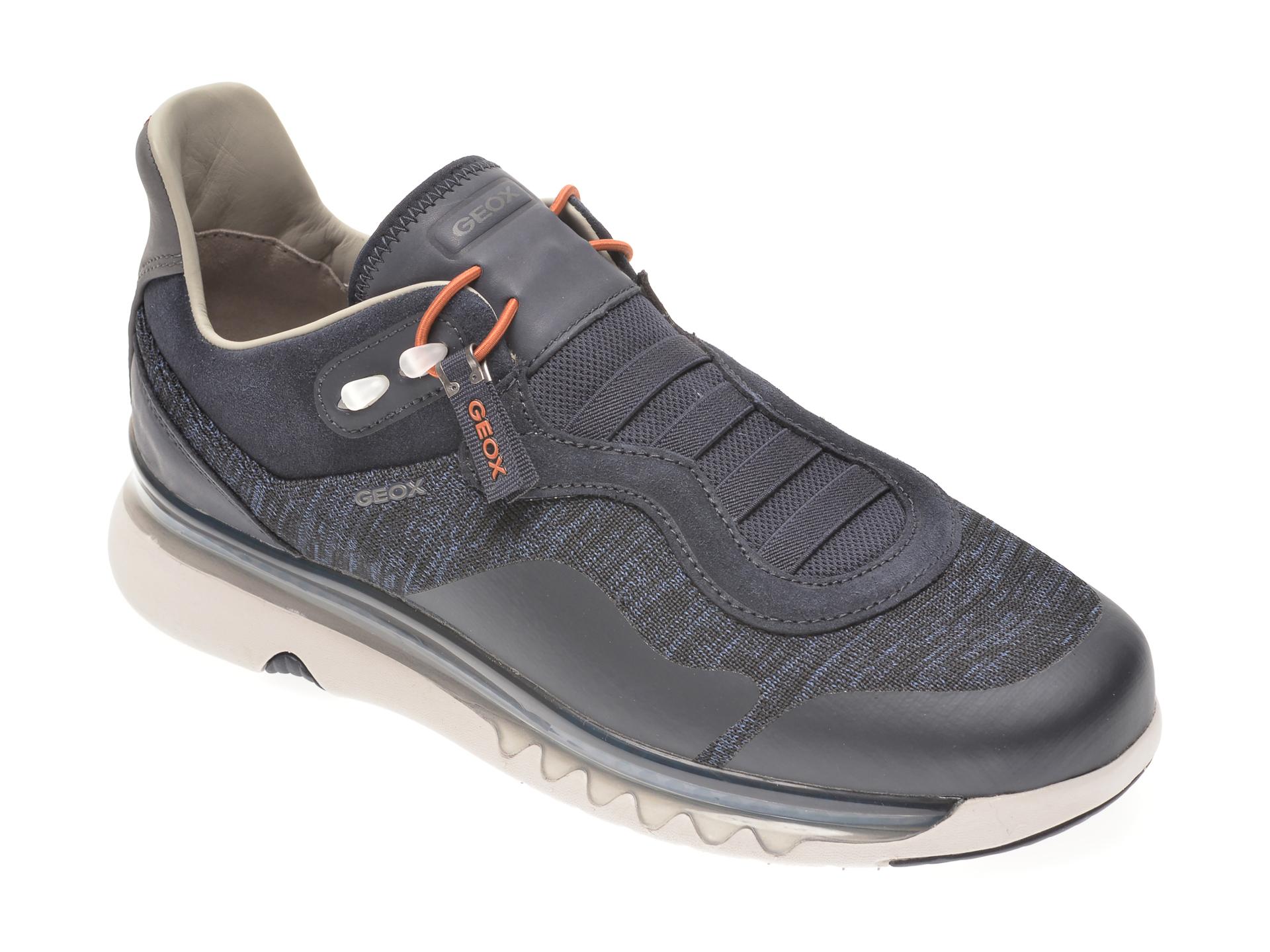 Pantofi sport GEOX bleumarin, U029UB, din material textil si piele ecologica