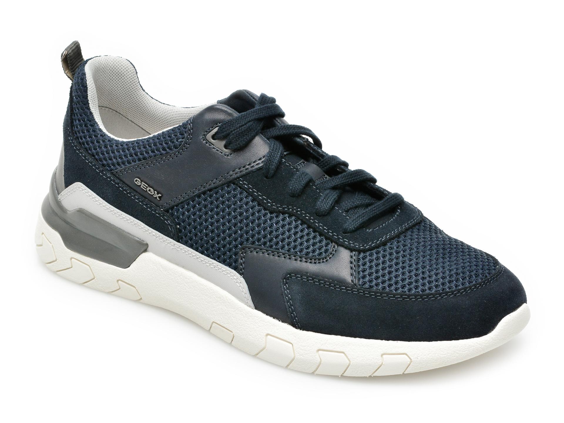 Pantofi sport GEOX bleumarin, U158ZC, din material textil si piele naturala