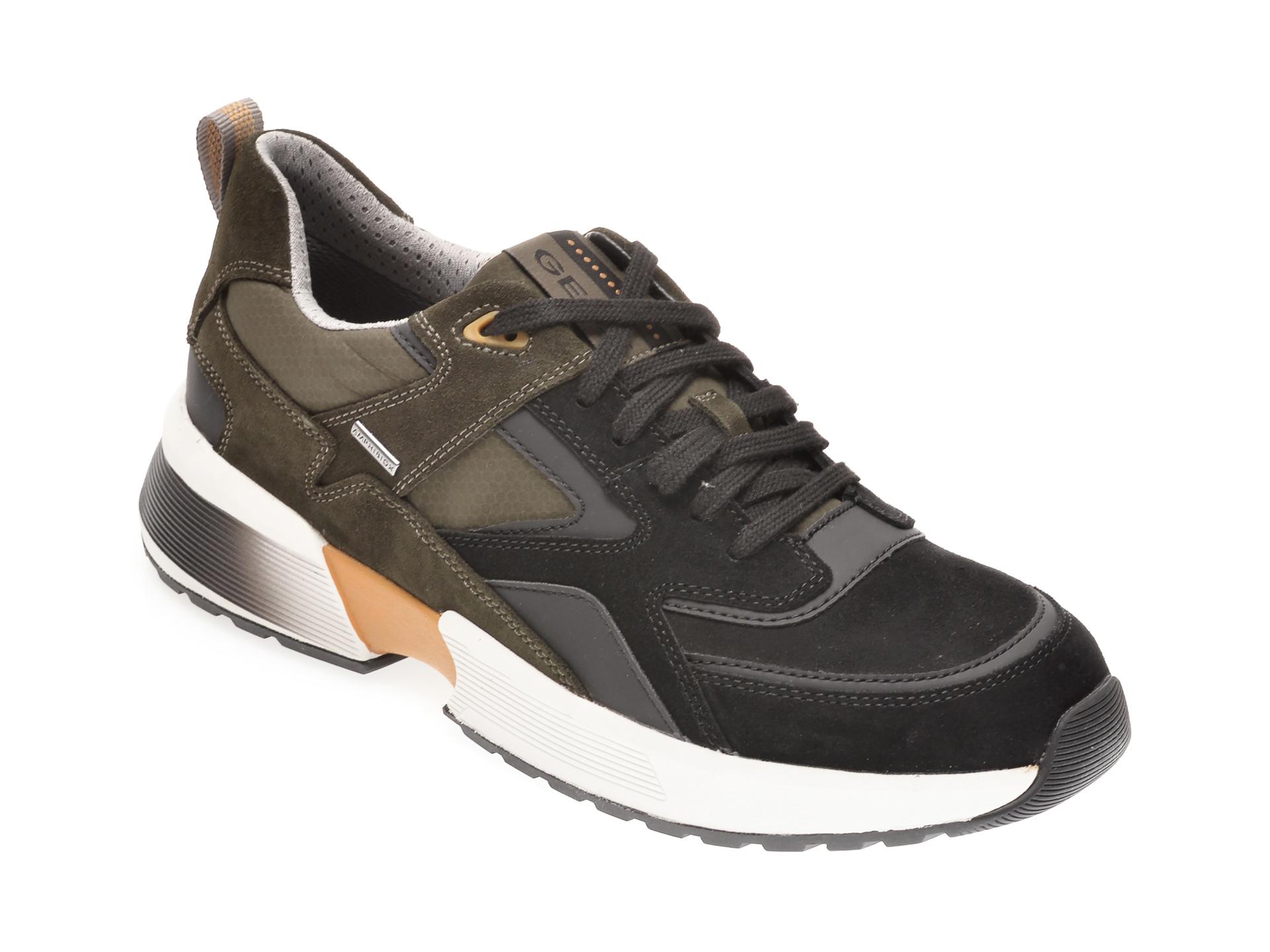 Pantofi sport GEOX negri, U04ASA, din piele naturala