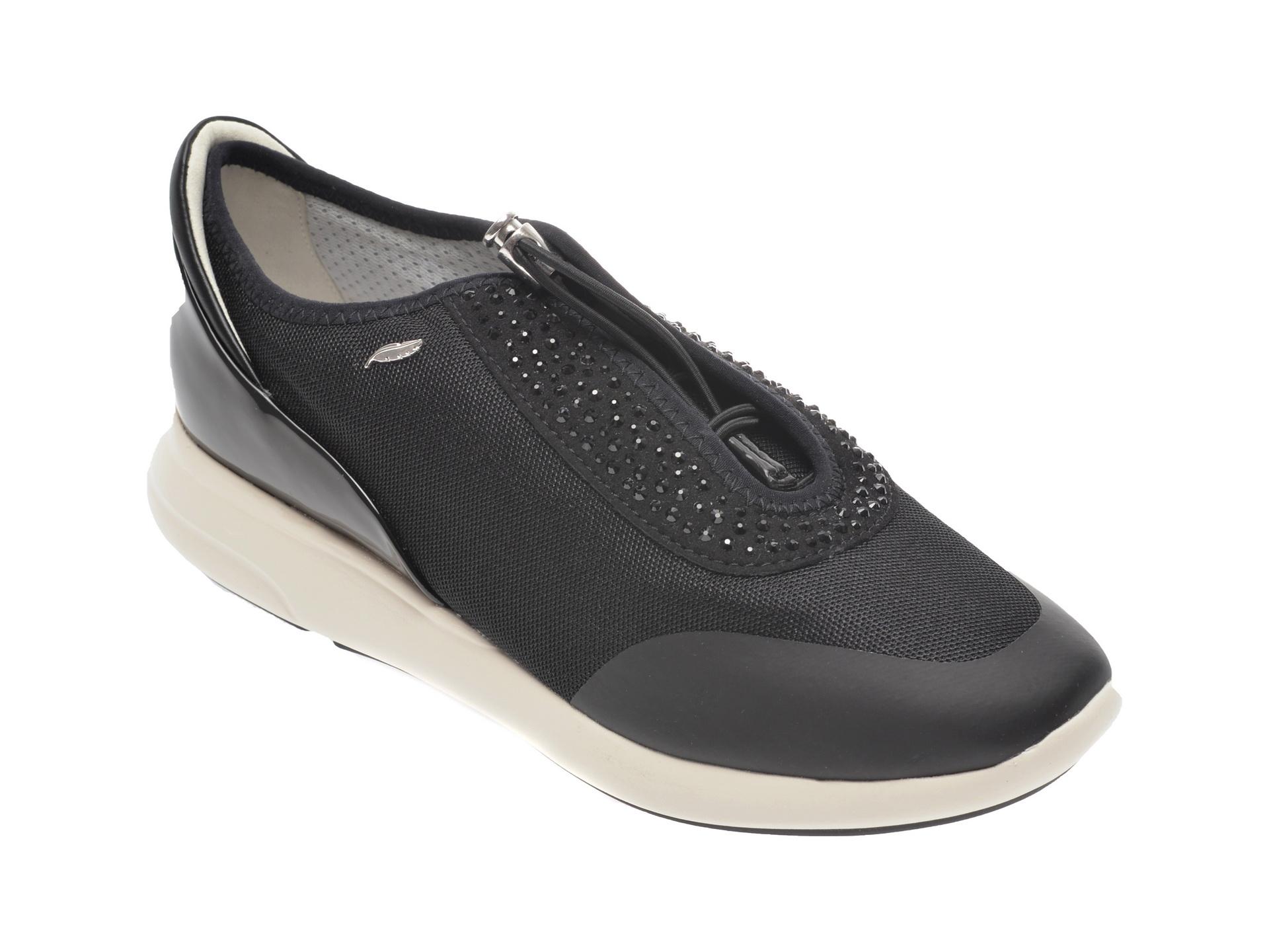 Pantofi sport GEOX negri, D621CE, din material textil si piele ecologica