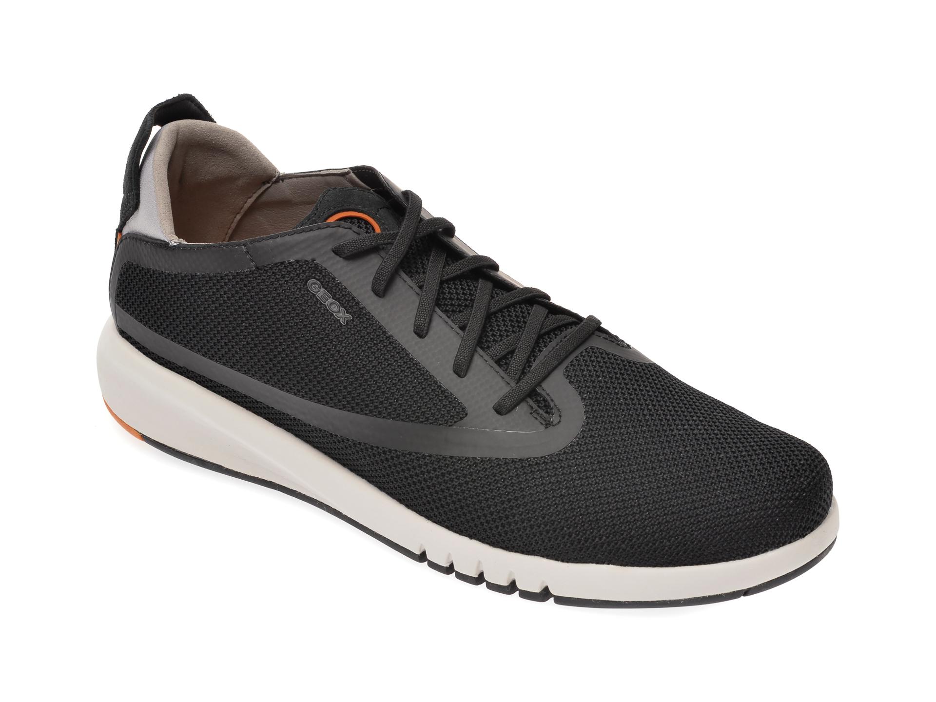 Pantofi sport GEOX negri, U027XA, din material textil si piele naturala