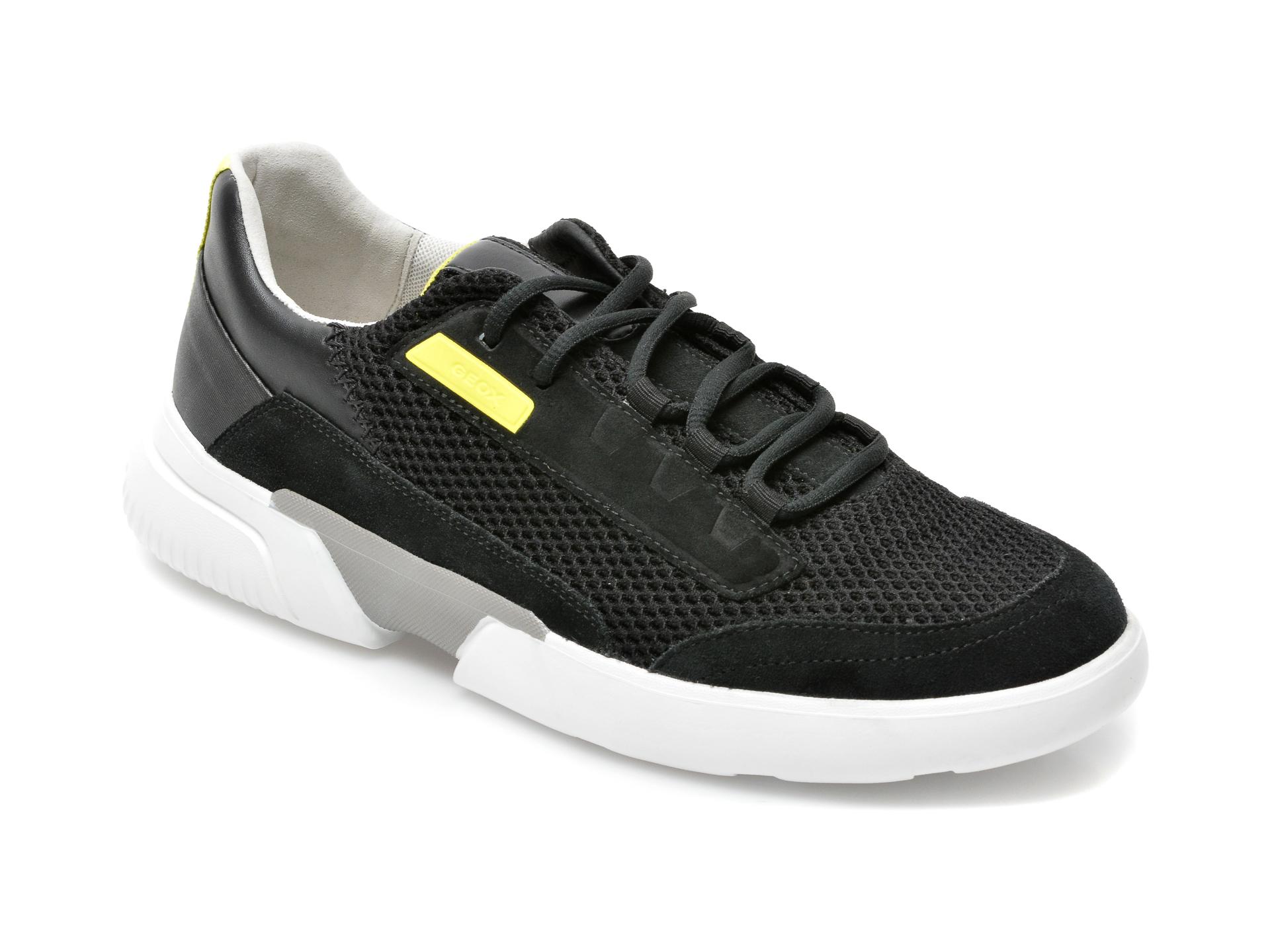 Pantofi sport GEOX negri, U15ATB, din piele naturala