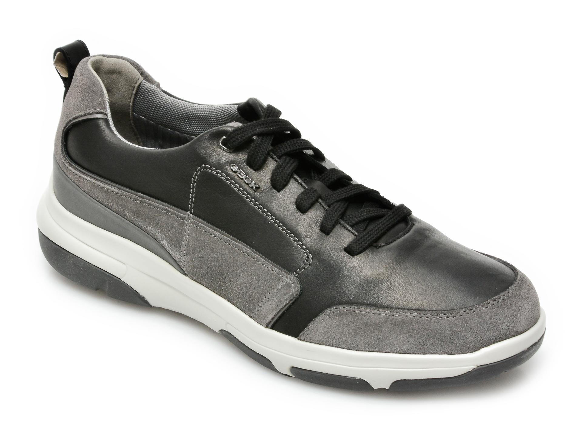 Pantofi sport GEOX negri, U15C0A, din piele naturala