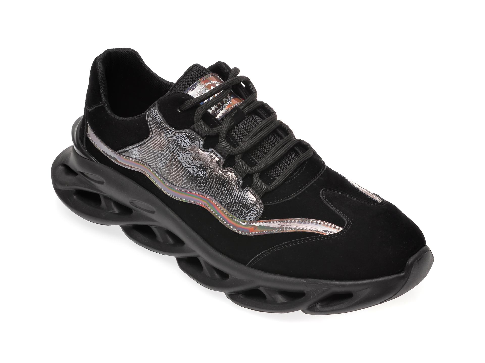Pantofi sport GRYXX negri, 29031, din material textil si piele ecologica imagine