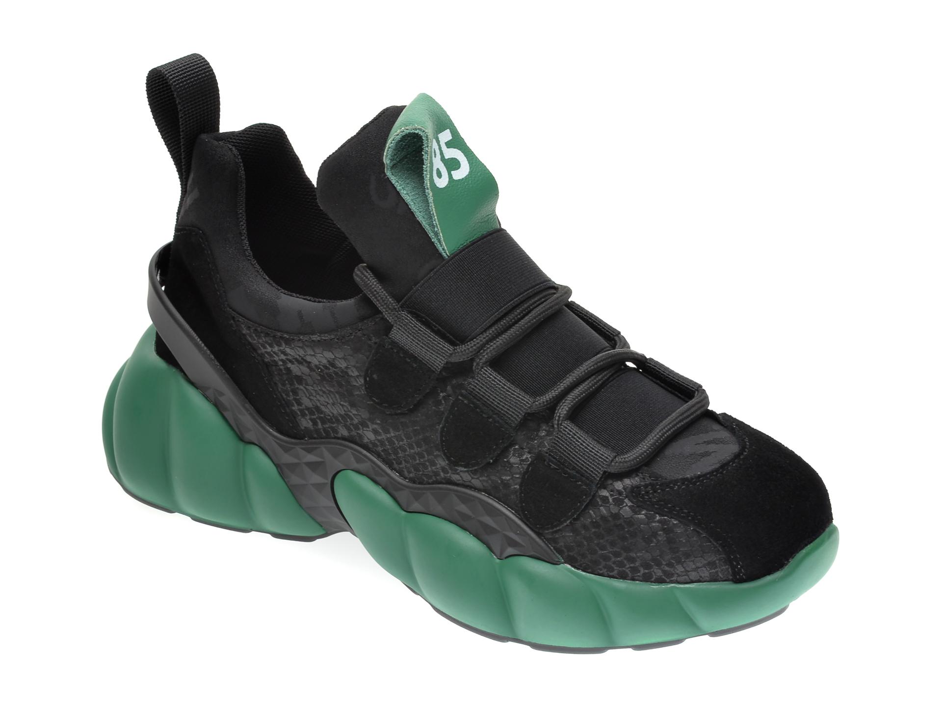 Pantofi Sport Gryxx Negri, H1153, Din Material Textil Si Piele Naturala