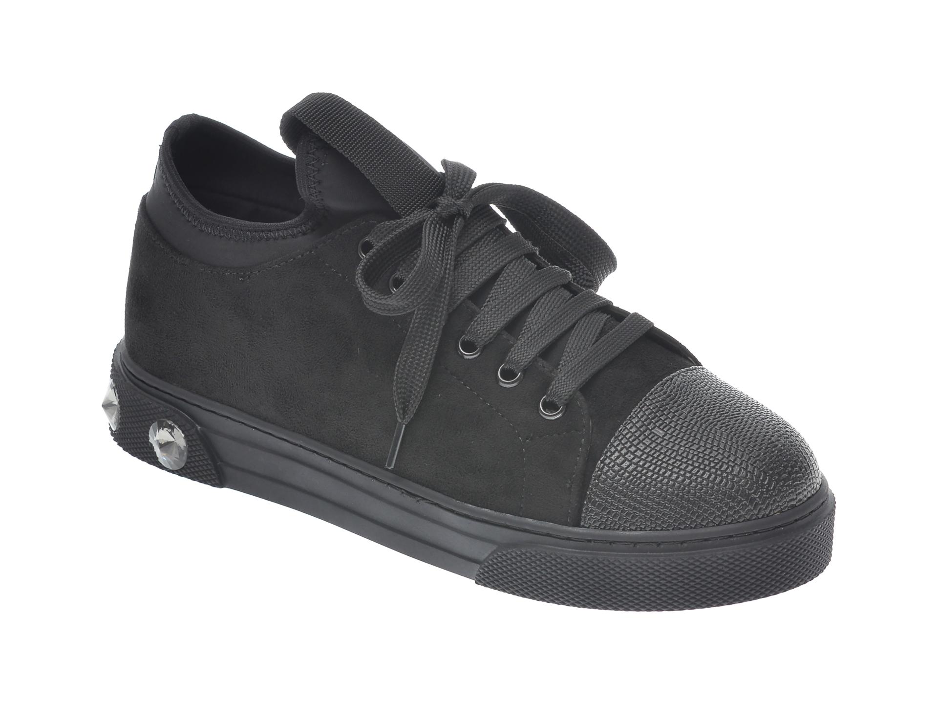 Pantofi Sport Gryxx Negri, T205, Din Material Textil Si Piele Ecologica
