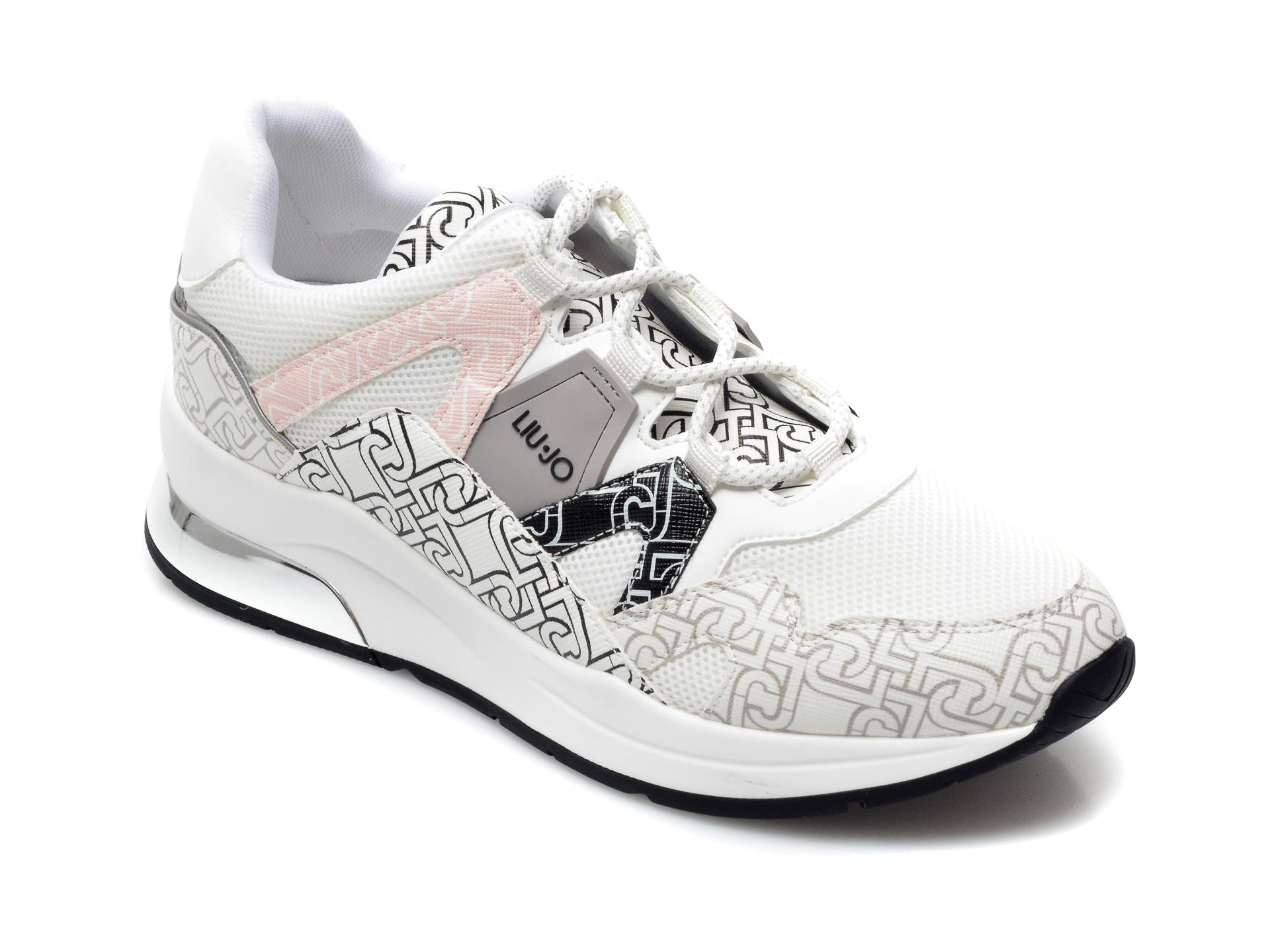 Pantofi sport LIU JO albi, Karlie 4, din material textil si piele ecologica