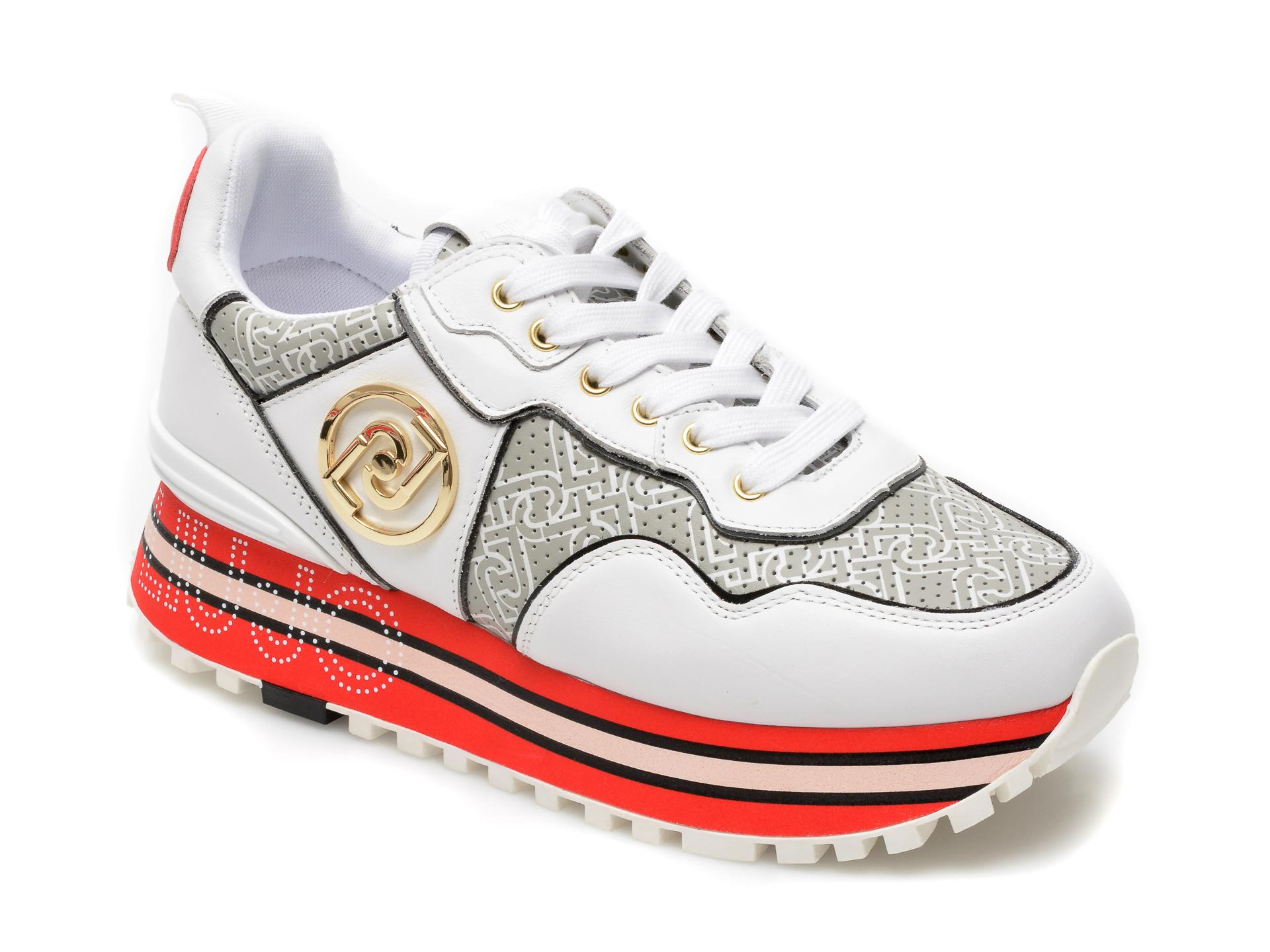 Pantofi sport LIU JO albi, Maxi Wonder 24, din piele naturala