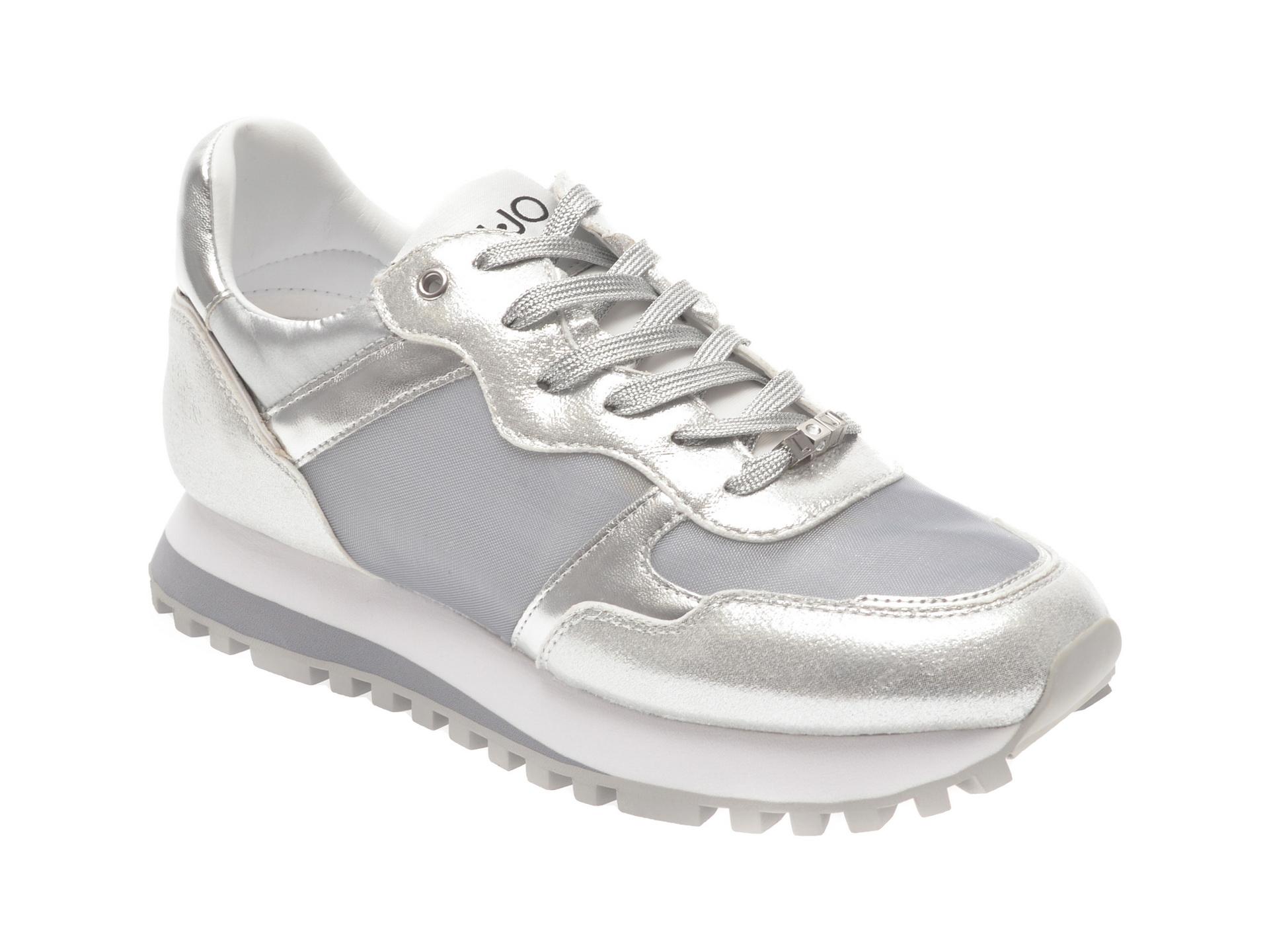 Pantofi sport LIU JO argintii, WONDER, din material textil si piele ecologica