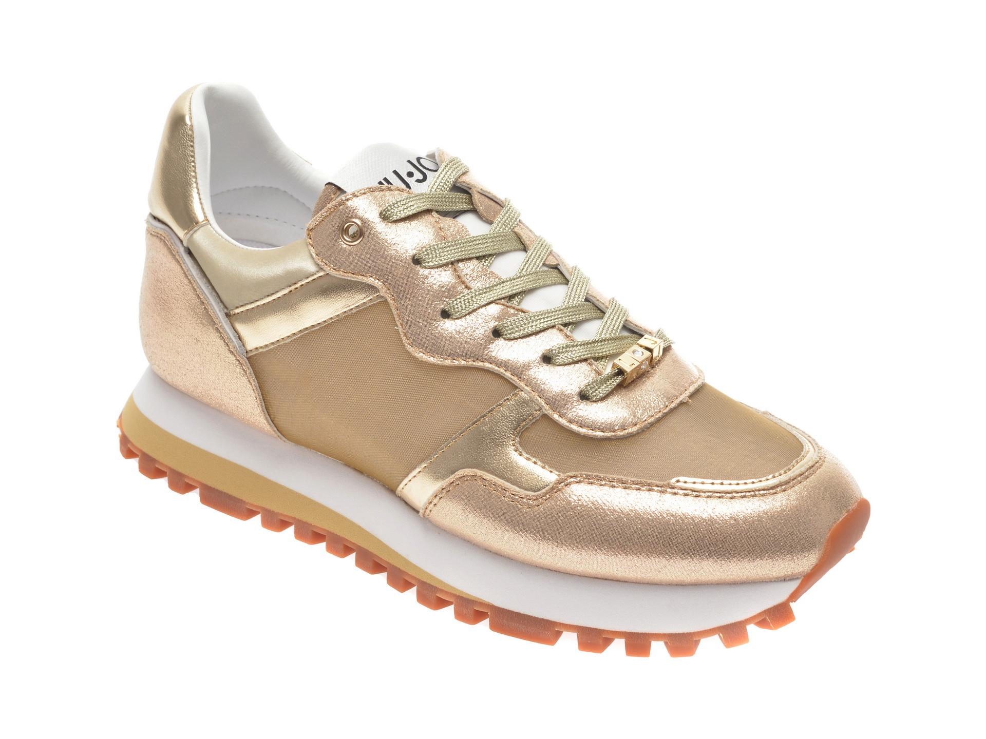 Pantofi sport LIU JO aurii, WONDER, din material textil si piele ecologica