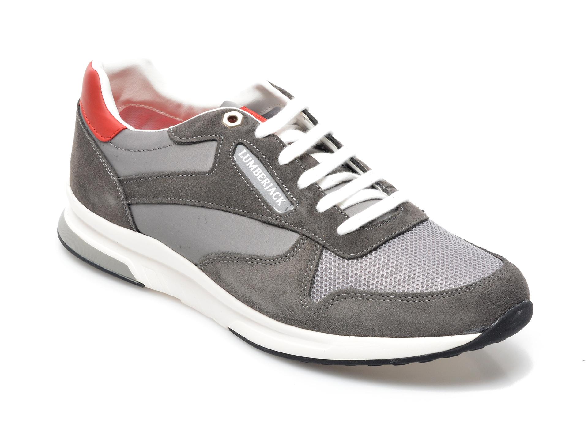 Pantofi Sport Lumberjack Gri, 8701001, Din Material Textil Si Piele Intoarsa