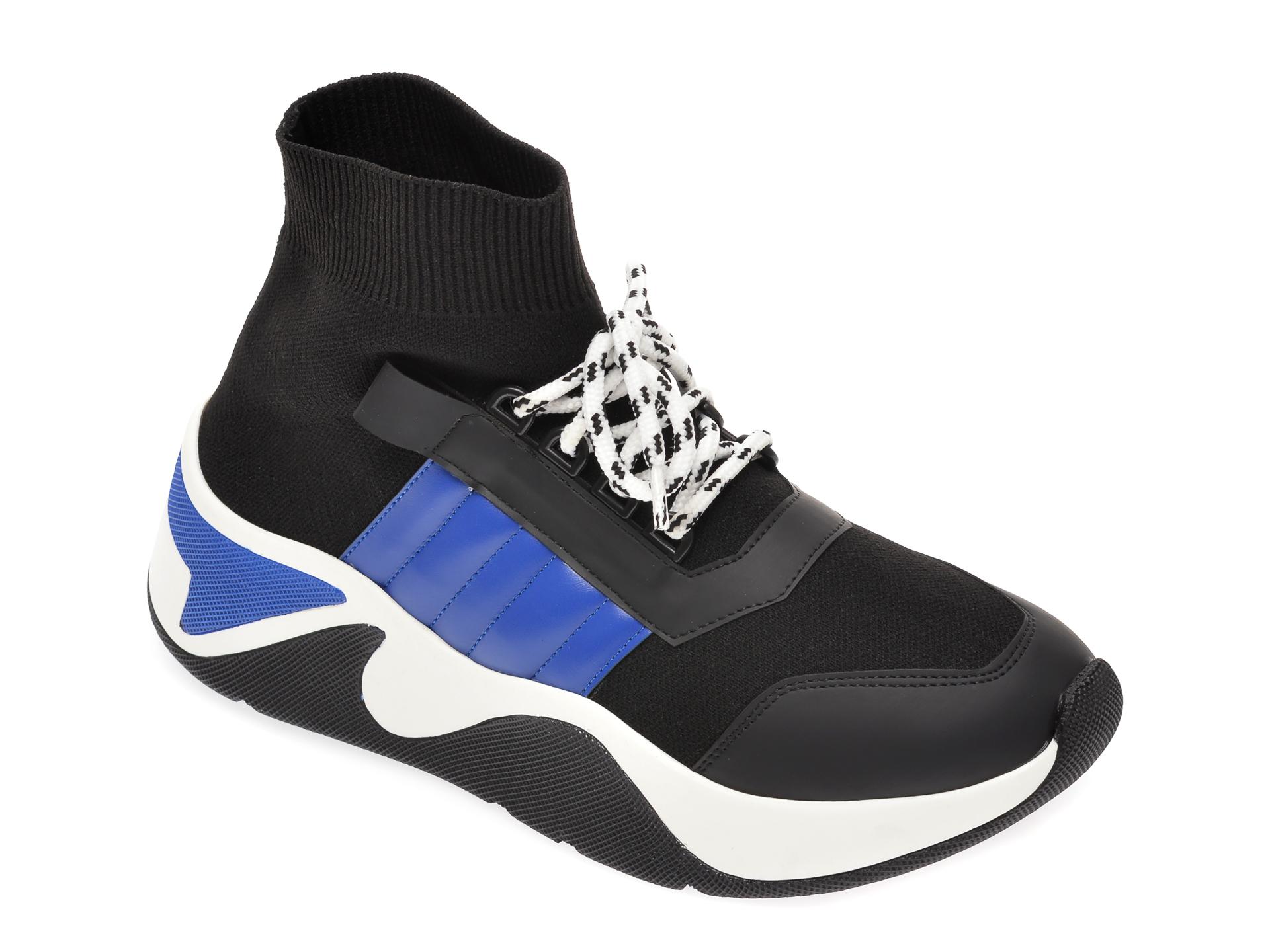 Pantofi sport negri, MK1B2, din material textil si piele ecologica