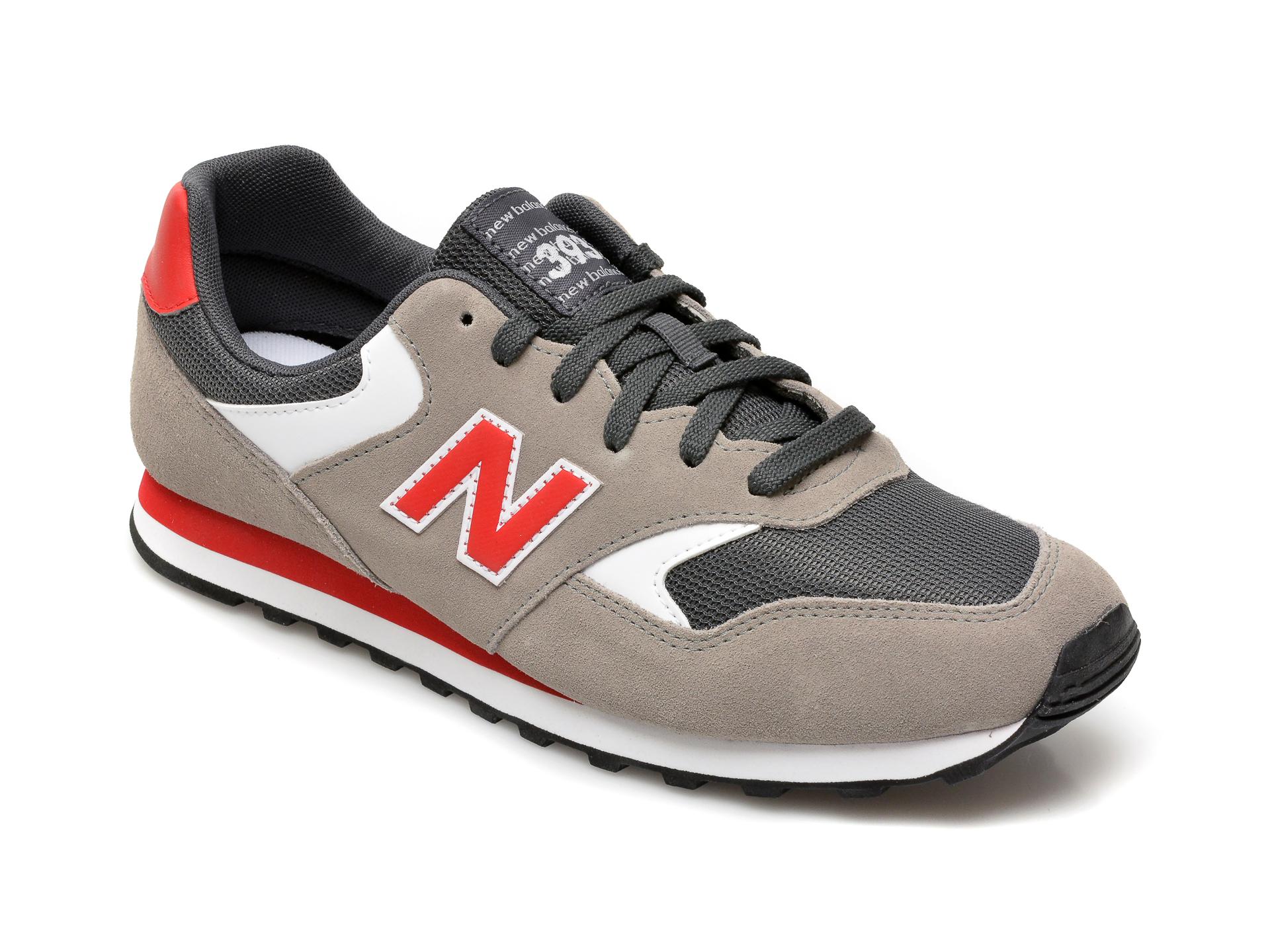 Pantofi sport NEW BALANCE negri, ML393, din material textil si piele intoarsa