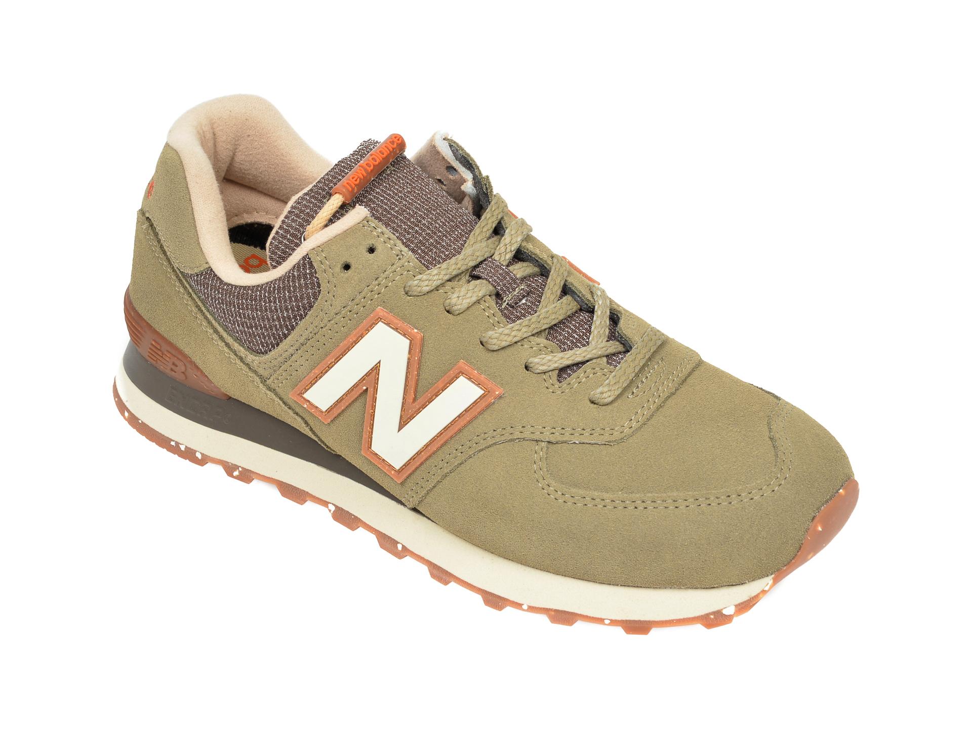 Pantofi sport NEW BALANCE kaki, ML574, din material textil si piele intoarsa imagine