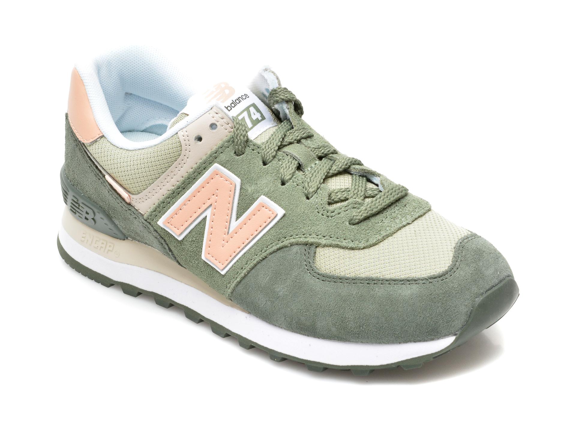 Pantofi sport NEW BALANCE verzi, ML574, din material textil si piele intoarsa