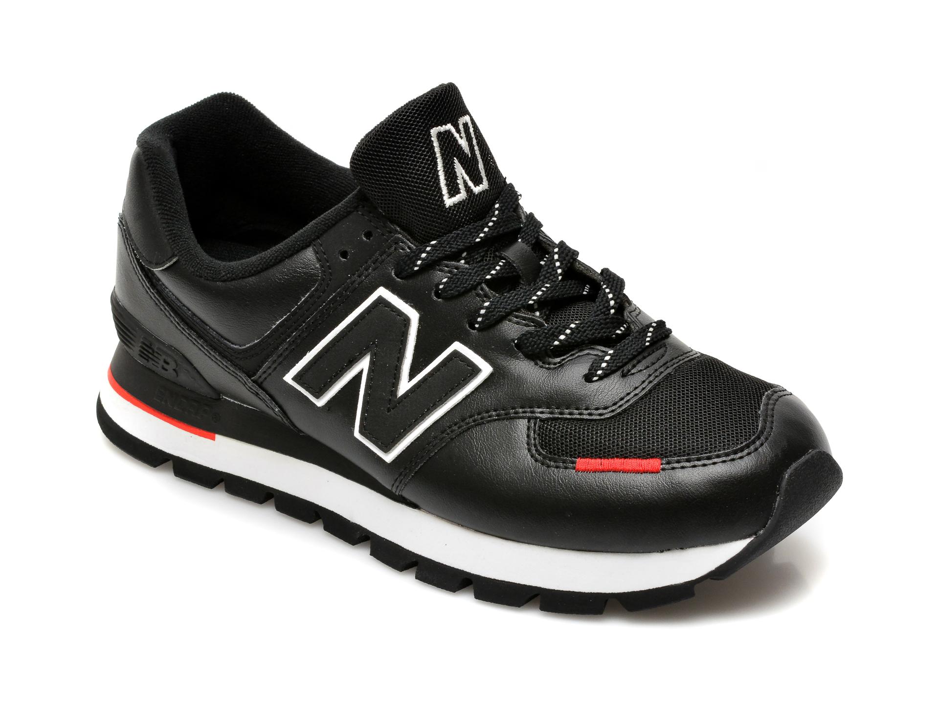Pantofi sport NEW BALANCE negri, GC574, din material textil si piele naturala