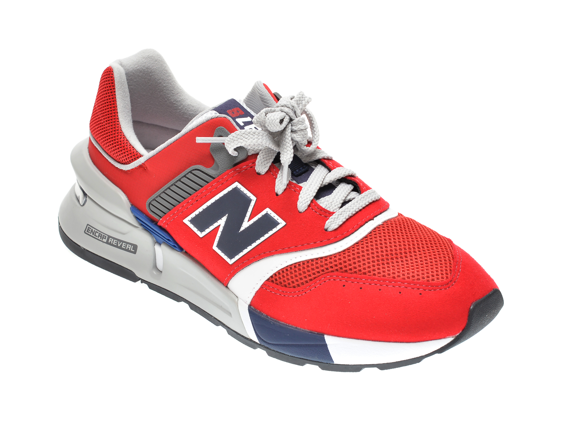 Pantofi sport NEW BALANCE rosii, CM997, din material textil si piele intoarsa
