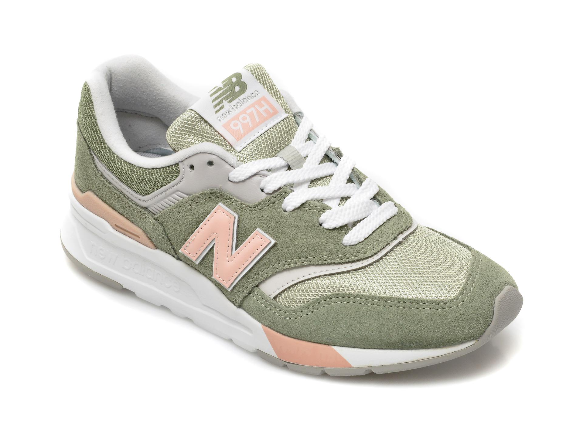 Pantofi sport NEW BALANCE kaki, CM997, din material textil si piele intoarsa