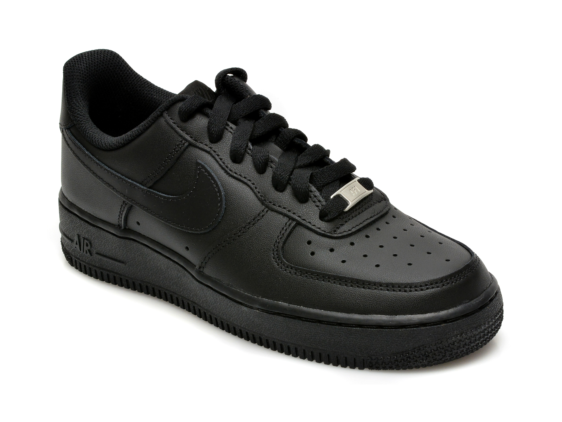 Pantofi sport NIKE negri, Wmns Air Force 1 07, din piele naturala
