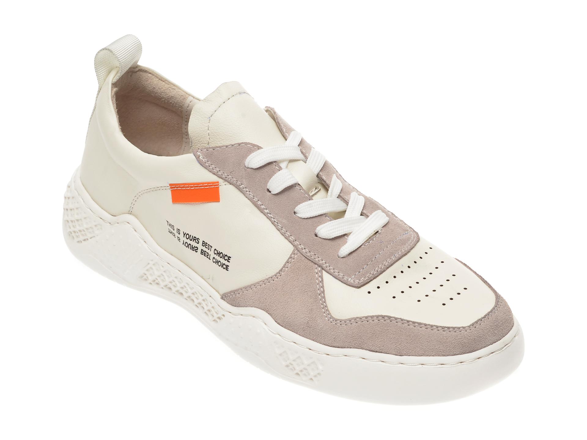 Pantofi sport OTTER albi, 7D91931, din piele naturala imagine