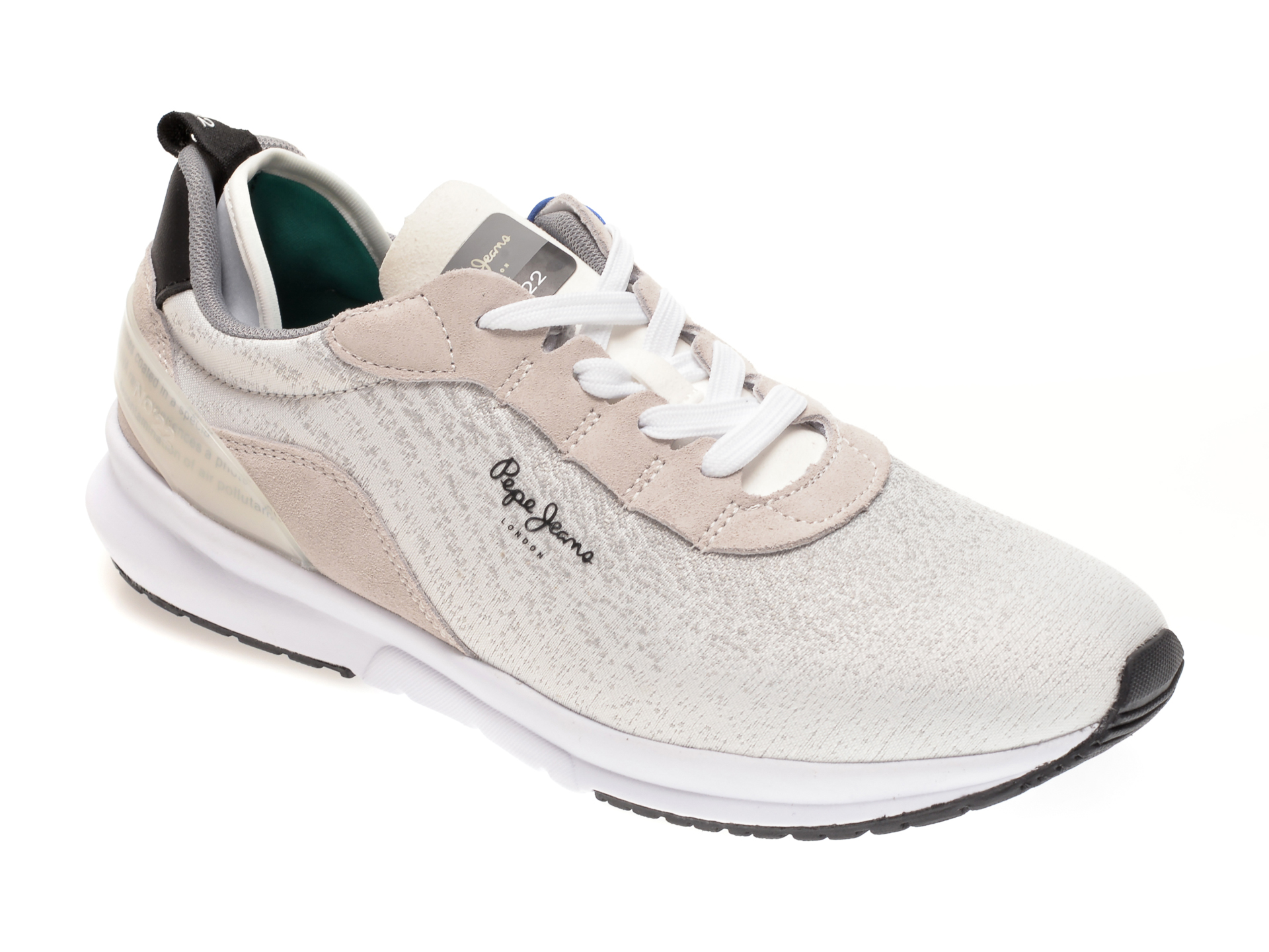 Pantofi sport PEPE JEANS albi, MS30694, din material textl
