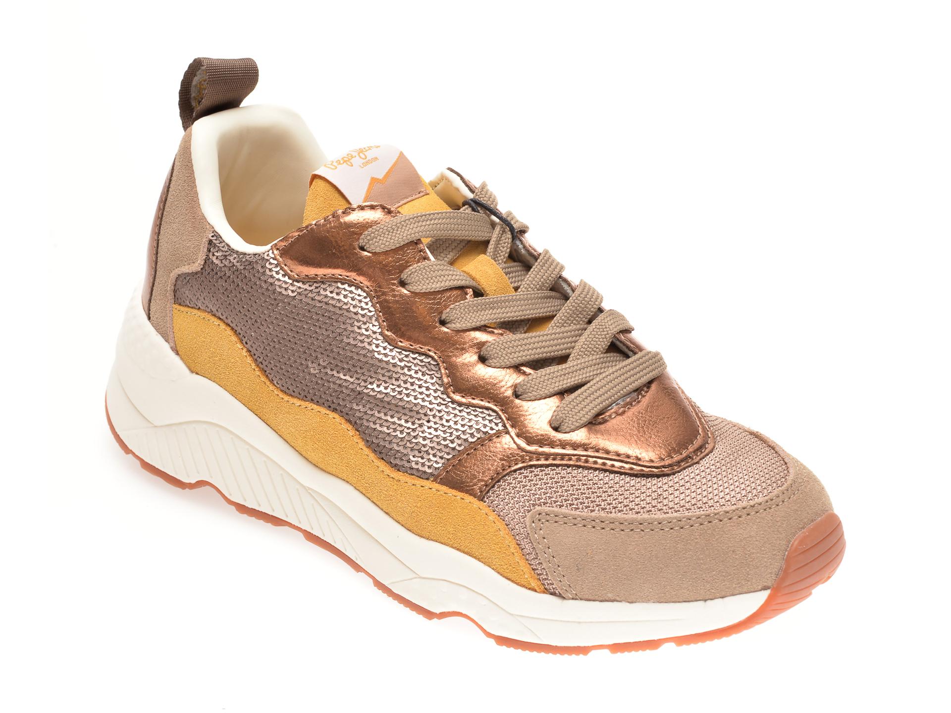 Pantofi sport PEPE JEANS aurii, LS31078, din piele ecologica