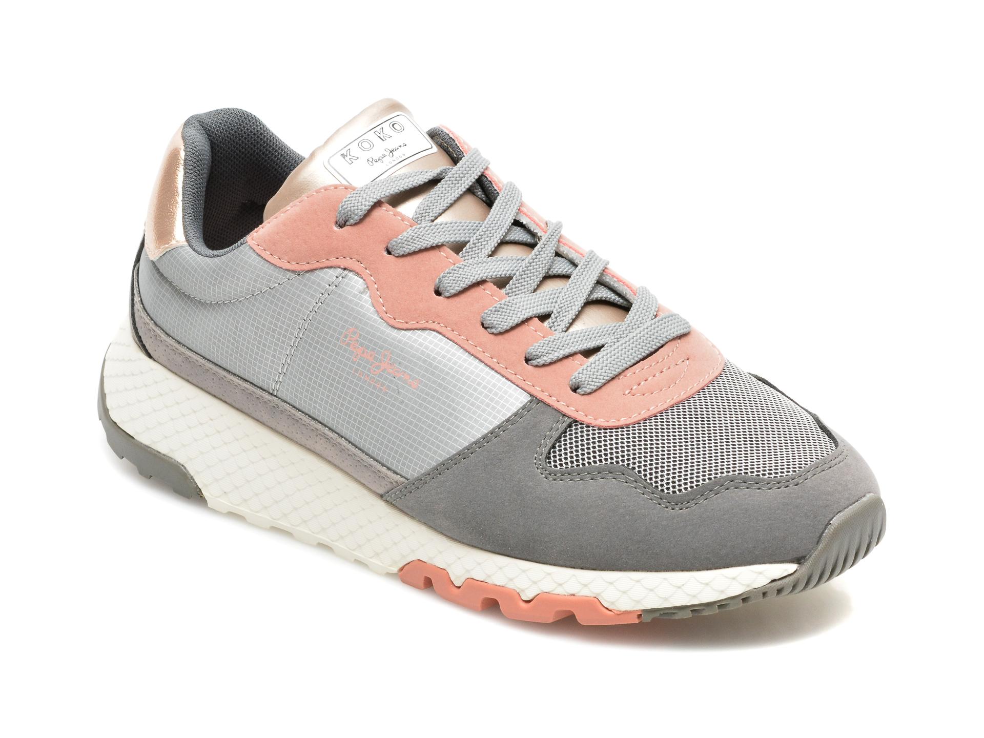 Pantofi sport PEPE JEANS gri, LS31242, din material textil si piele ecologica