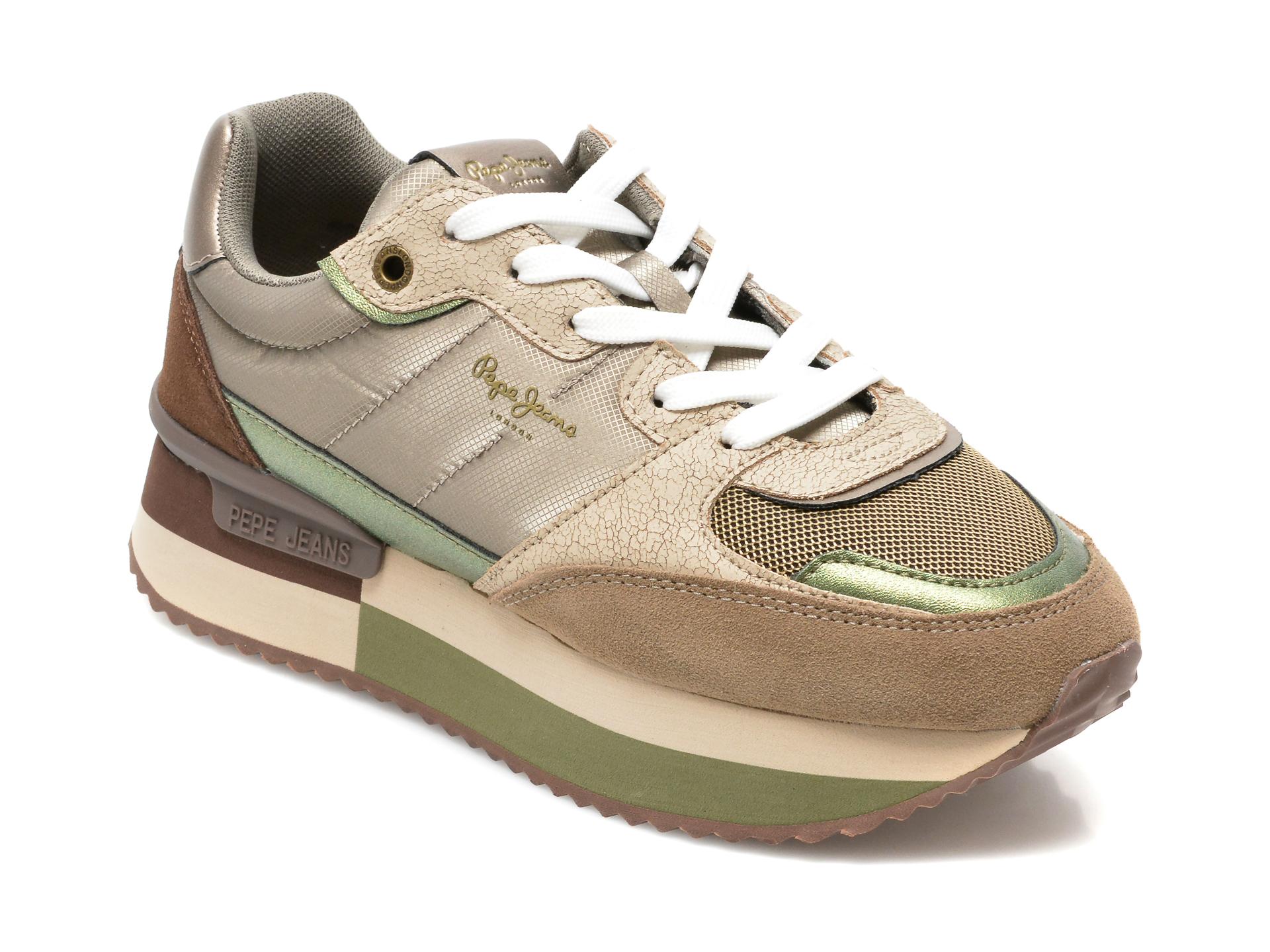 Pantofi sport PEPE JEANS gri, LS31259, din material textil si piele naturala