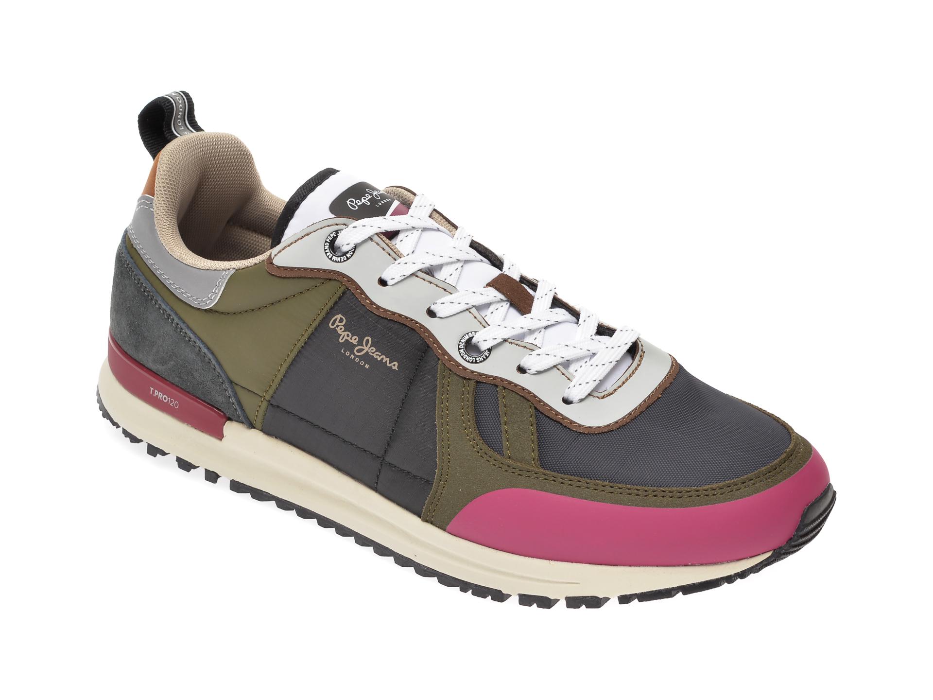 Pantofi sport PEPE JEANS kaki, MS30622, din material textil si piele ecologica imagine