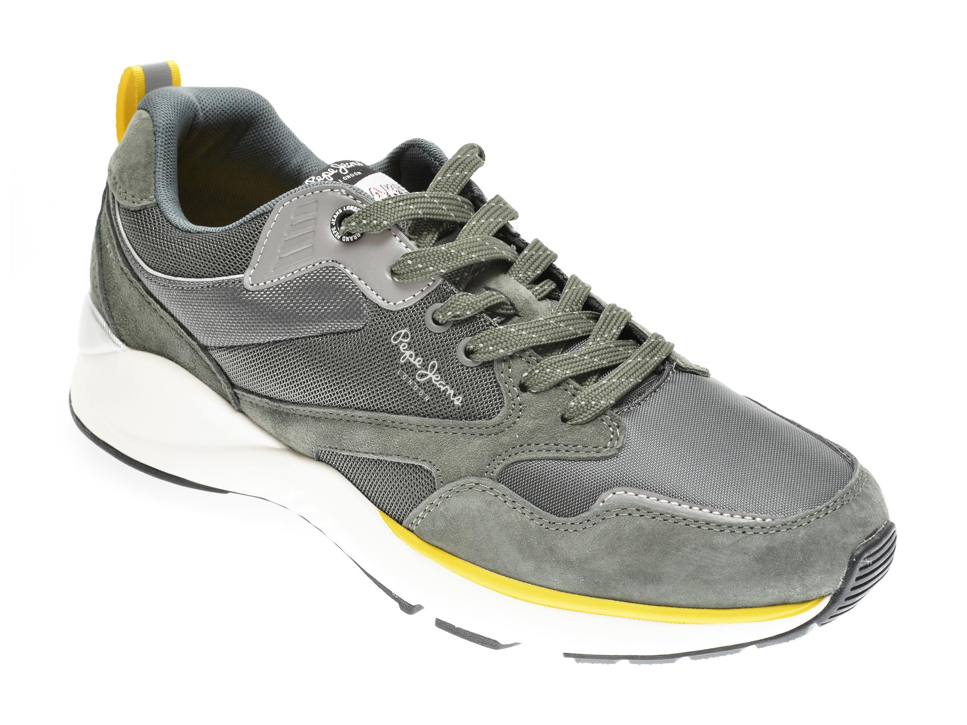 Pantofi sport PEPE JEANS kaki, MS30664, din material textil si piele intoarsa