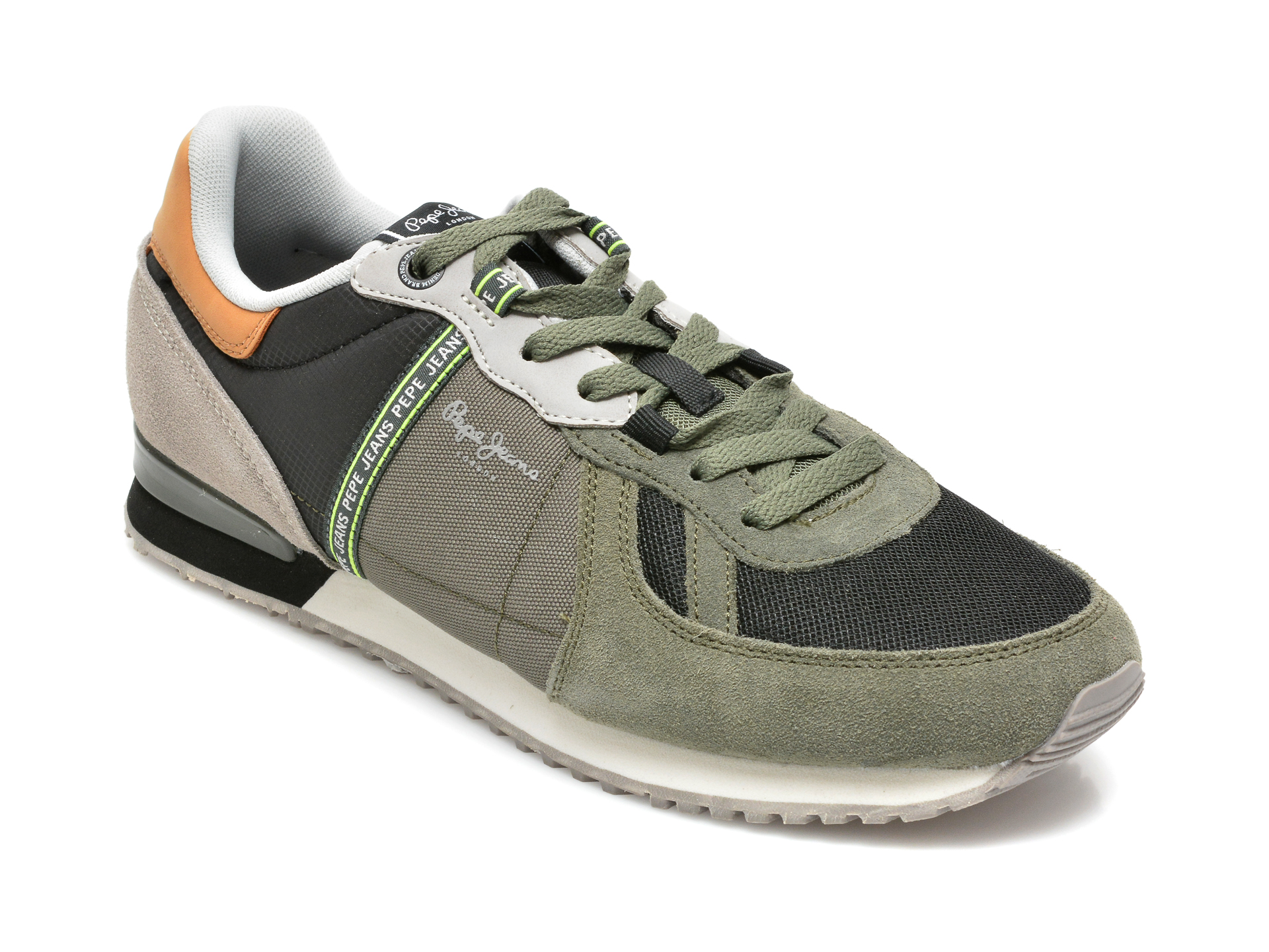 Pantofi sport PEPE JEANS kaki, MS30772, din material textil si piele naturala