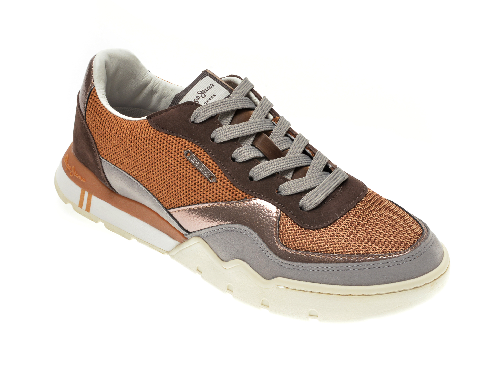 Pantofi sport PEPE JEANS maro, LS31029, din material textil si piele ecologica