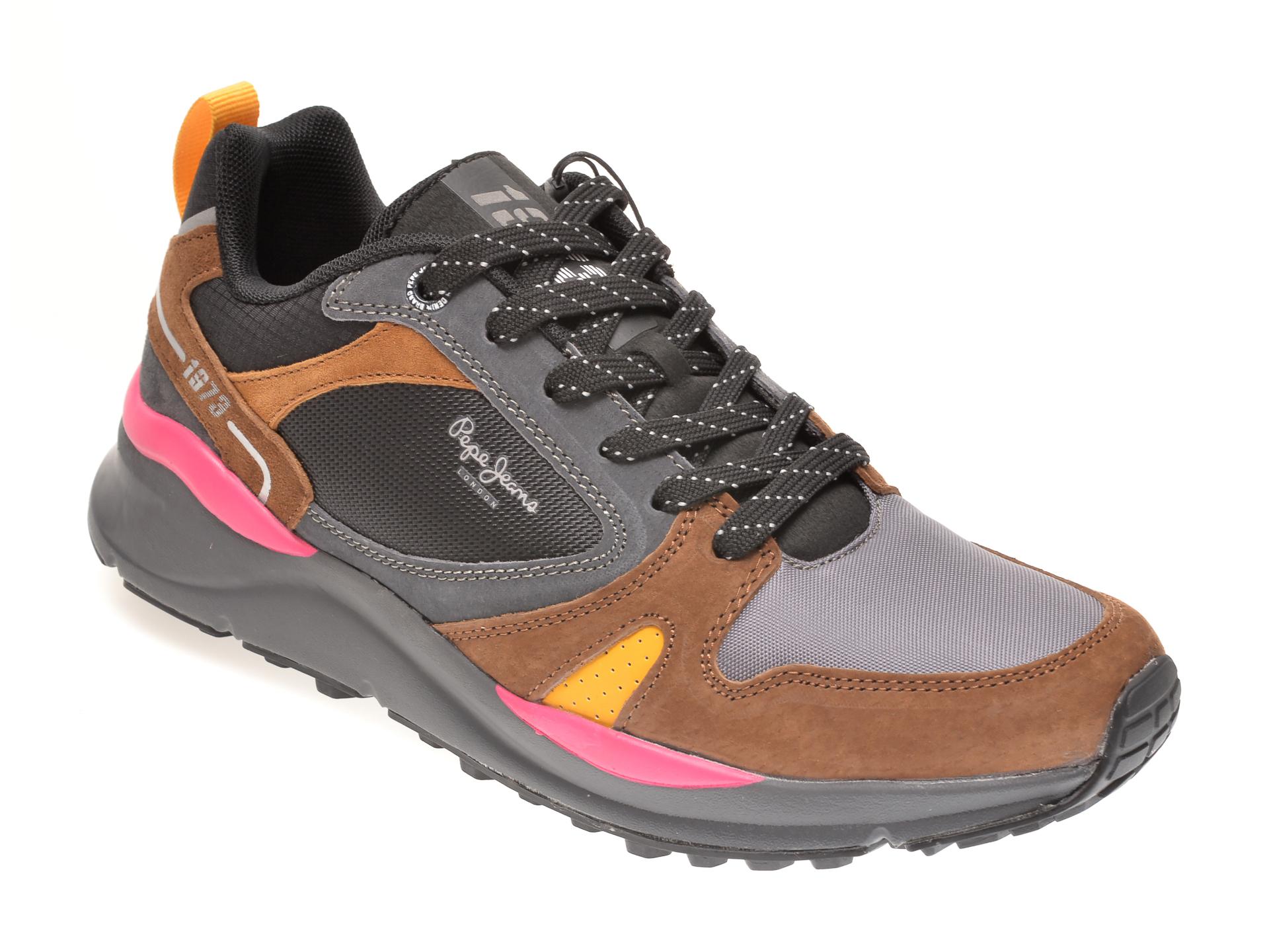 Pantofi sport PEPE JEANS maro, MS30679, din material textil si piele intoarsa