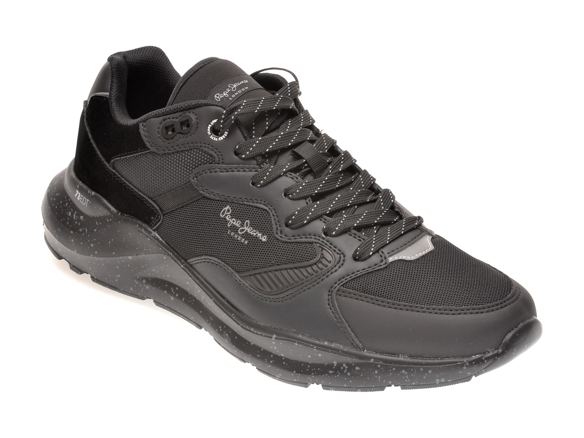 Pantofi sport PEPE JEANS negre, MS30667, din material textil si piele ecologica