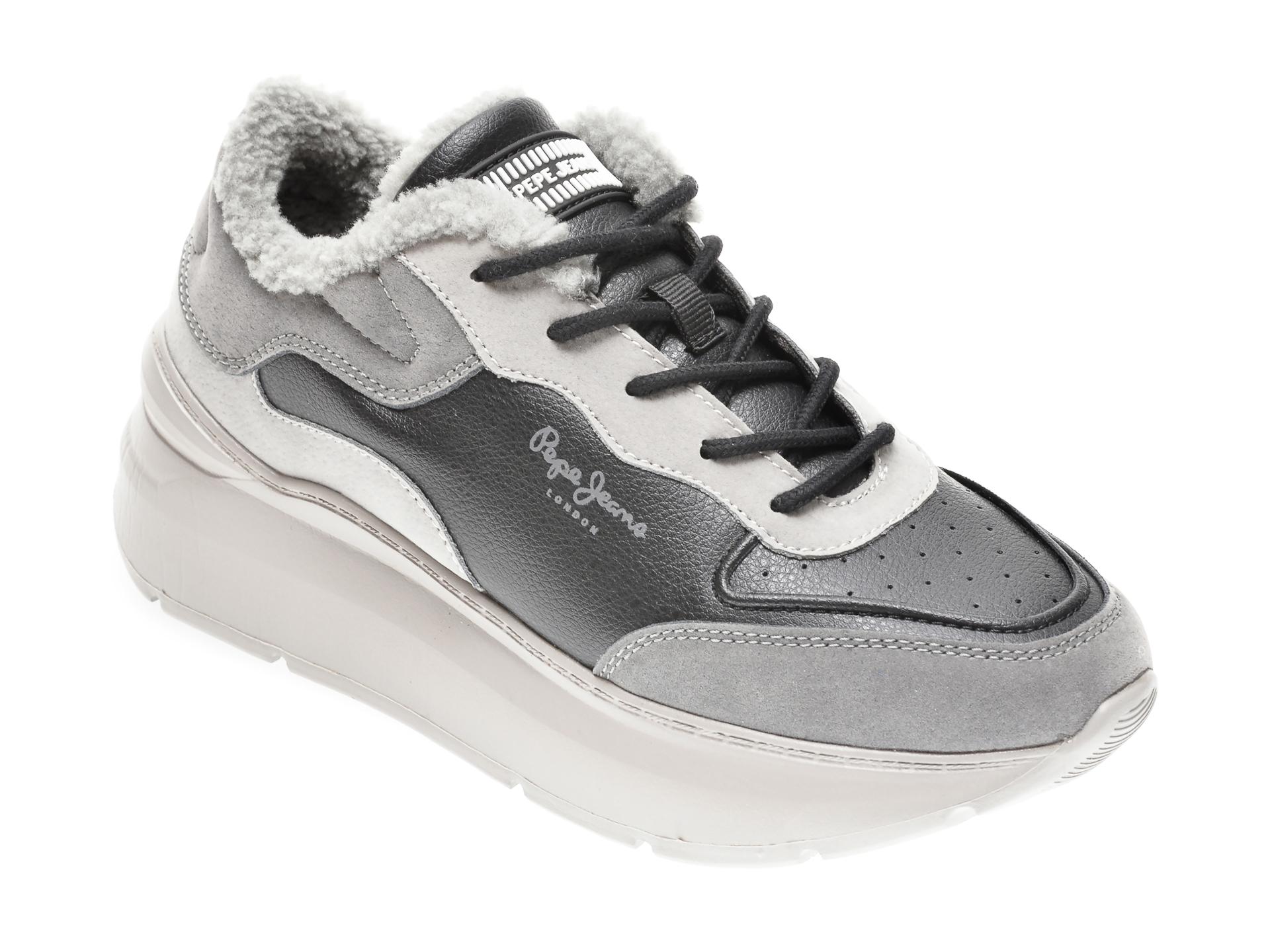 Pantofi sport PEPE JEANS negri, LS31038, din piele ecologica