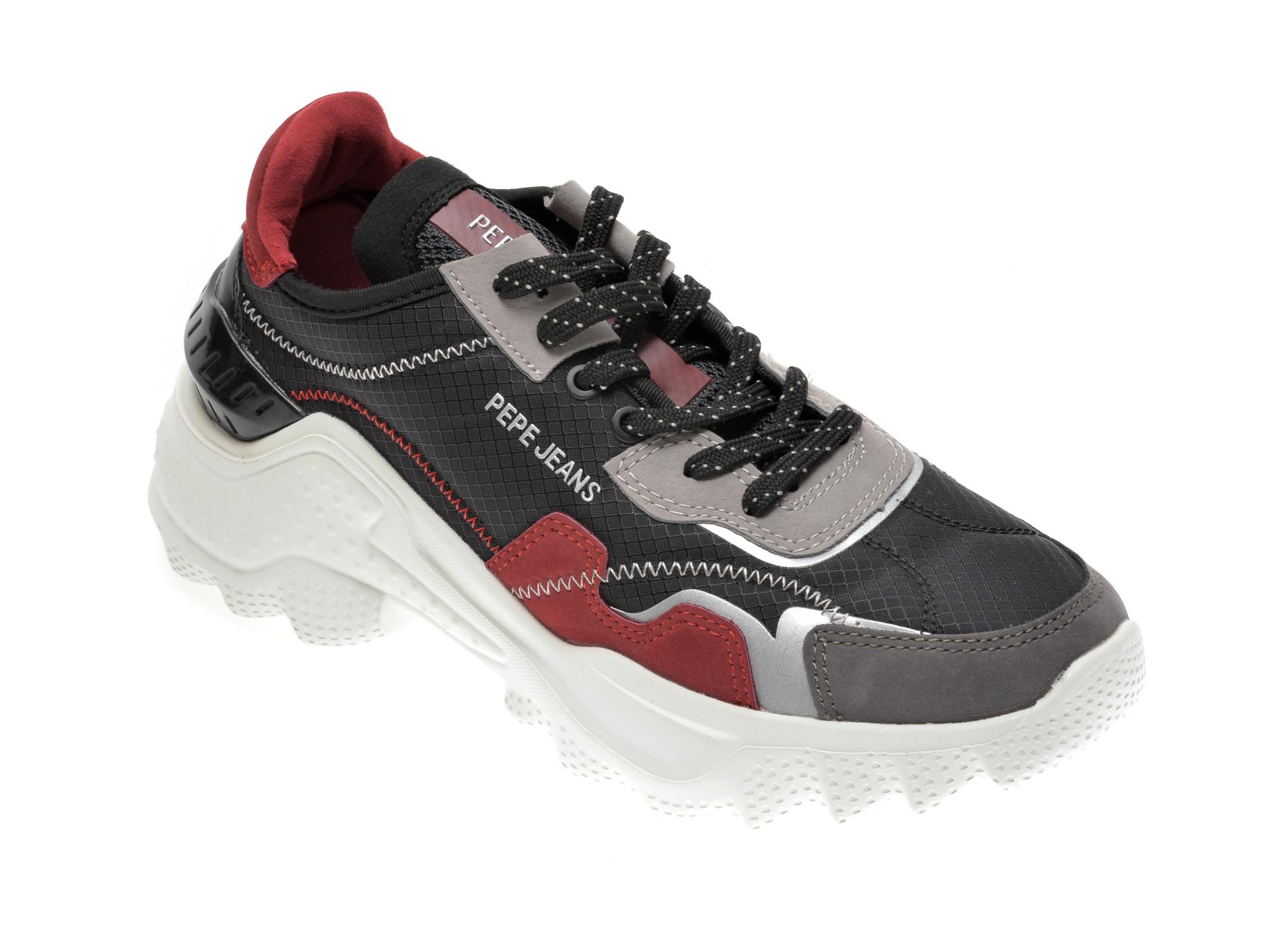 Pantofi sport PEPE JEANS negri, LS31073, din material textil si piele ecologica