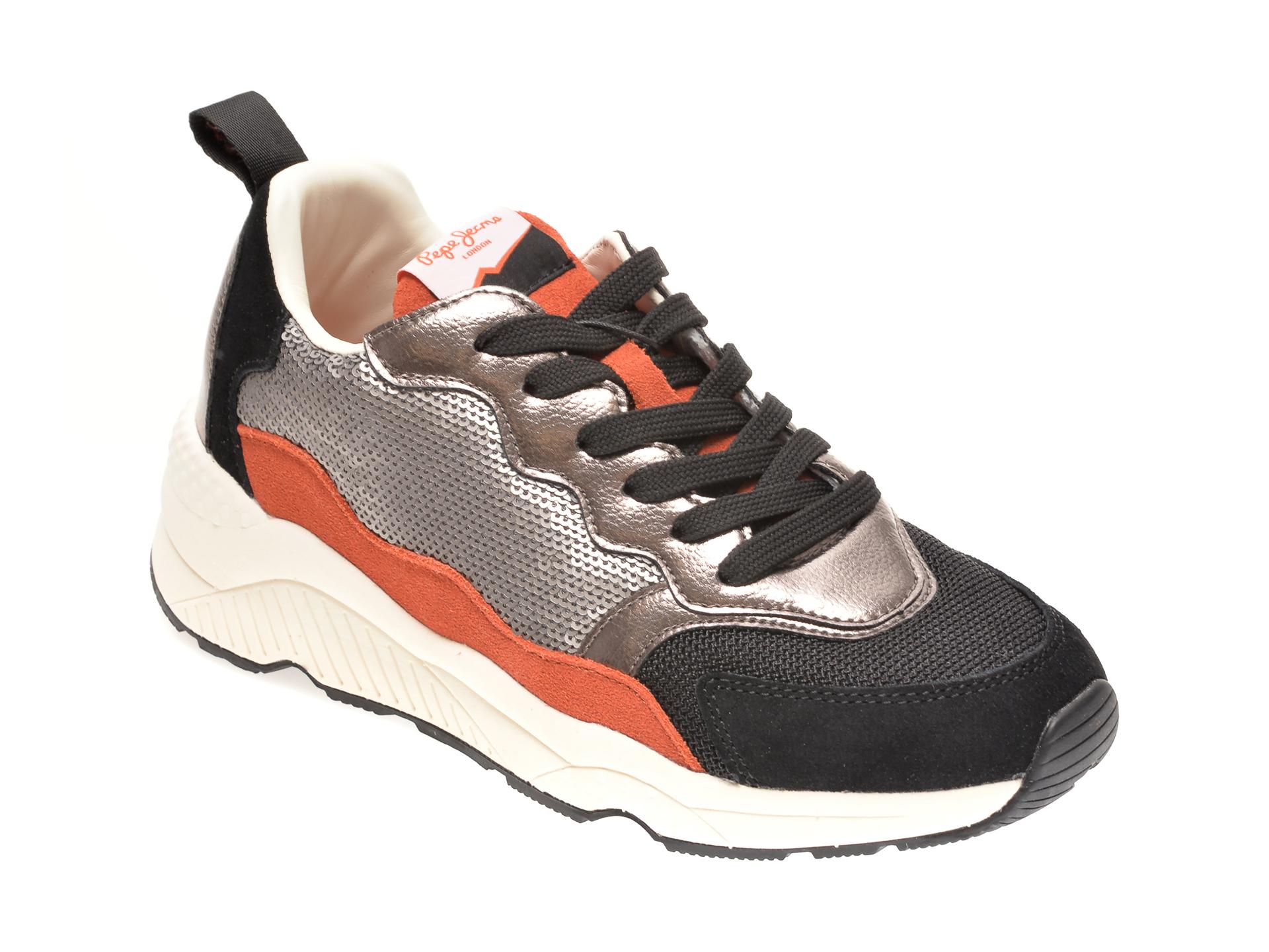 Pantofi sport PEPE JEANS negri, LS31078, din piele ecologica