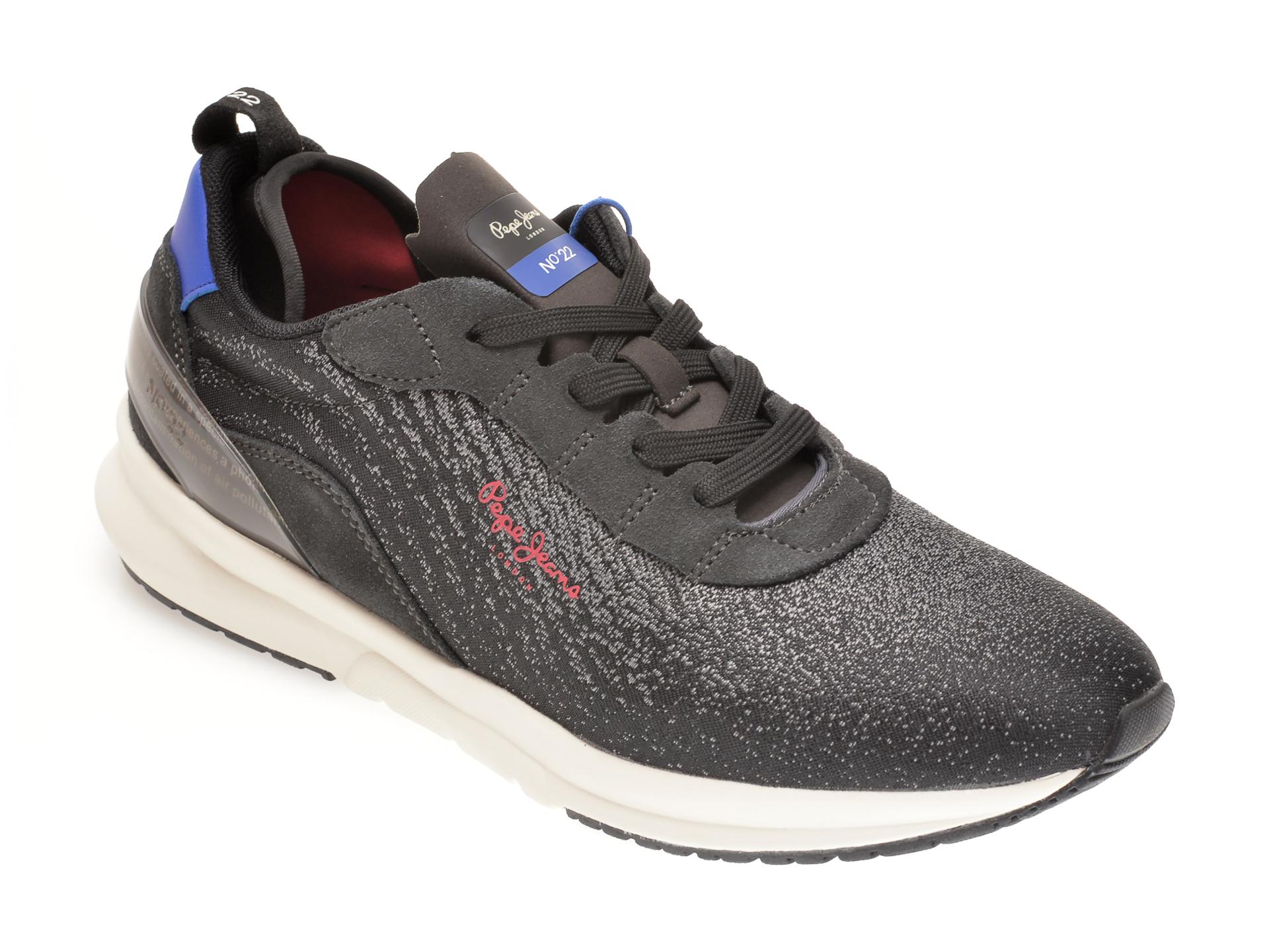 Pantofi sport PEPE JEANS negri, MS30694, din material textil