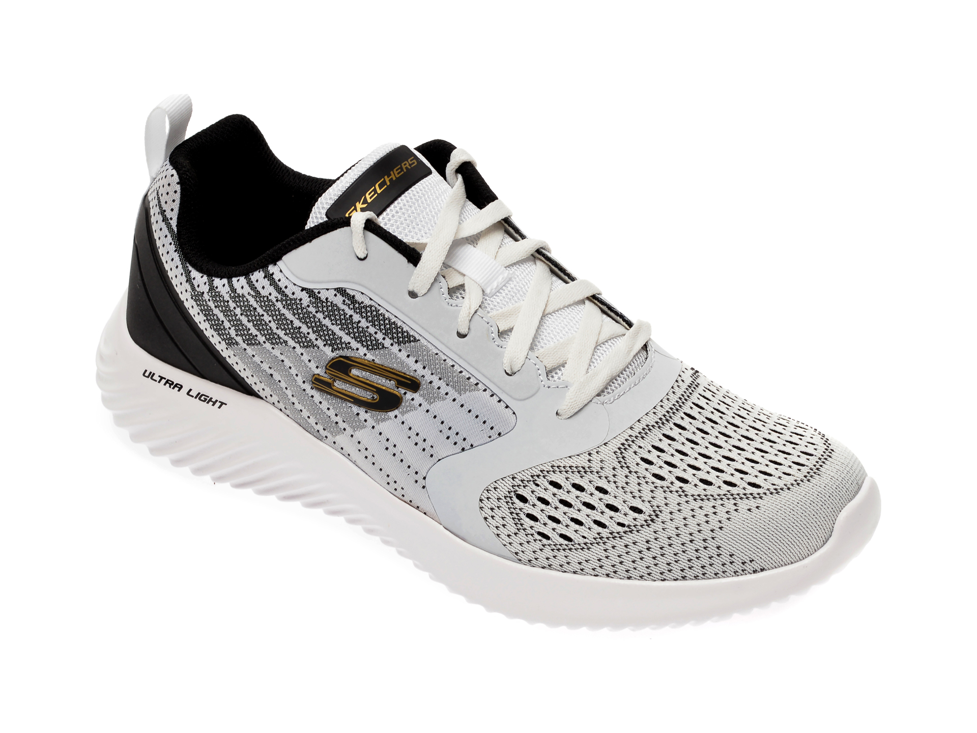 Pantofi sport SKECHERS alb-negru, Bounder Verkona, din material textil imagine